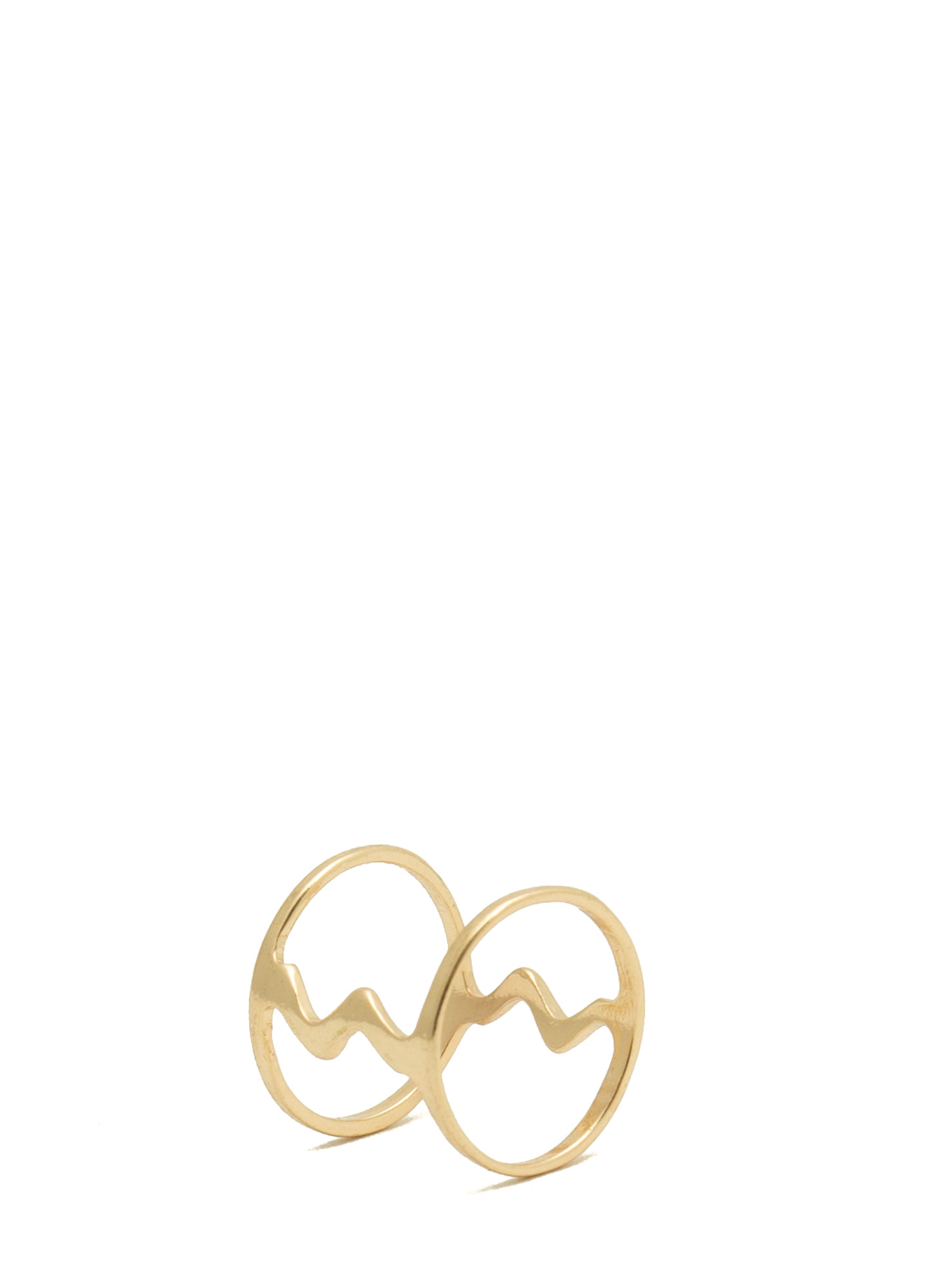 Zigzagged 'N Cut-Out Midi Ring GOLD