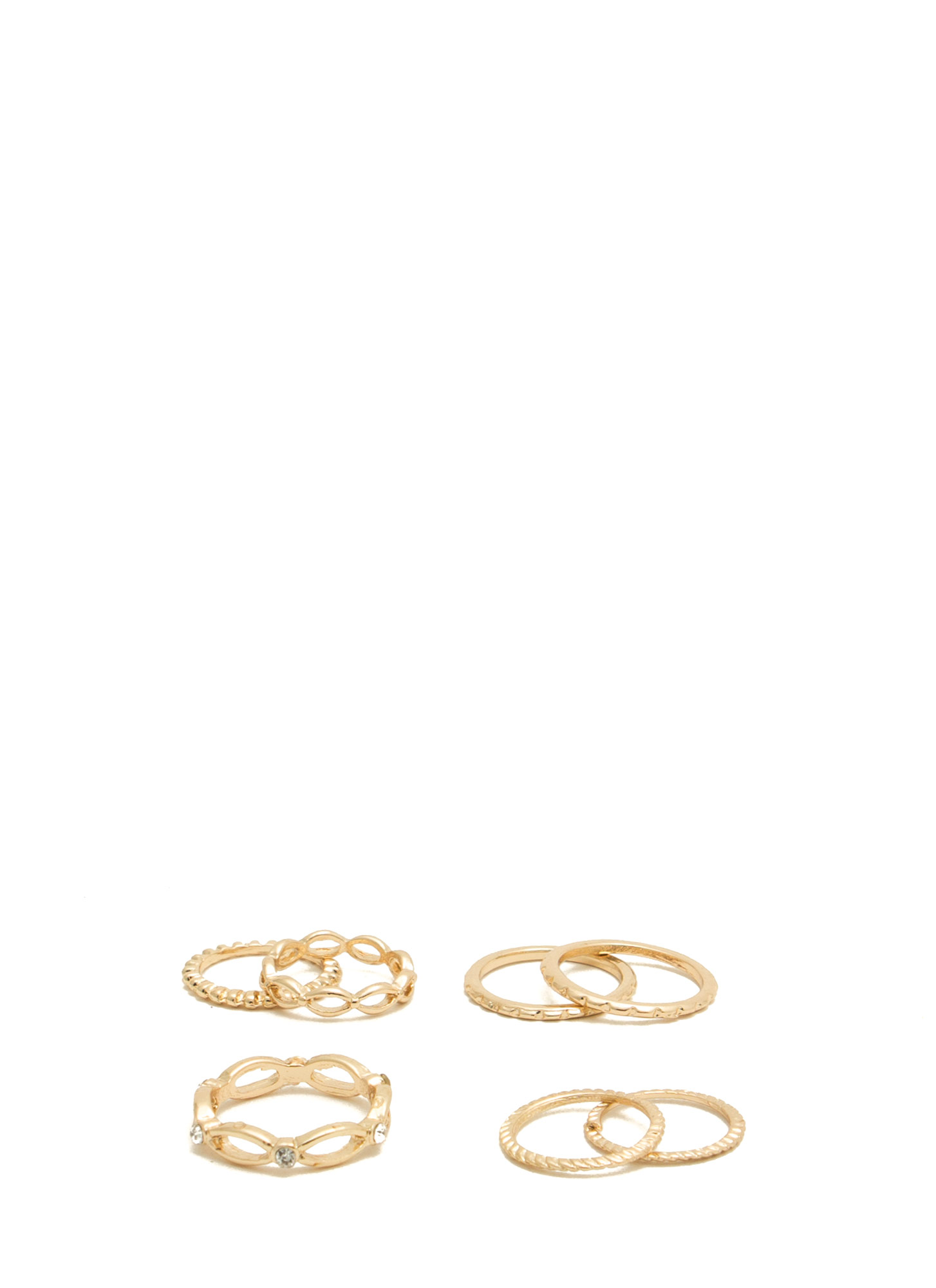 Dainty 'N Textured Metallic Ring Set GOLD
