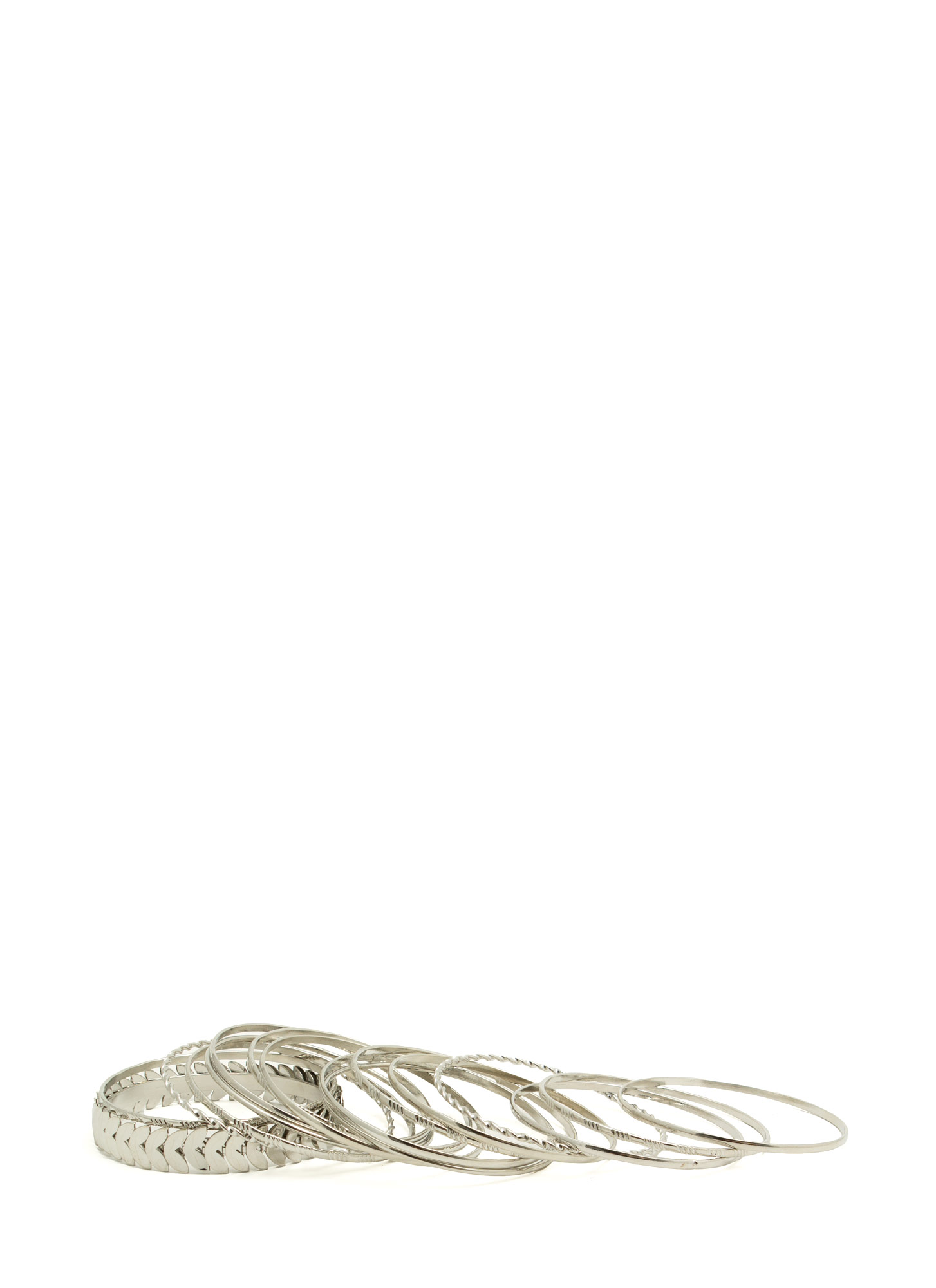 Textured Leaf Metal Bangle Set SILVER