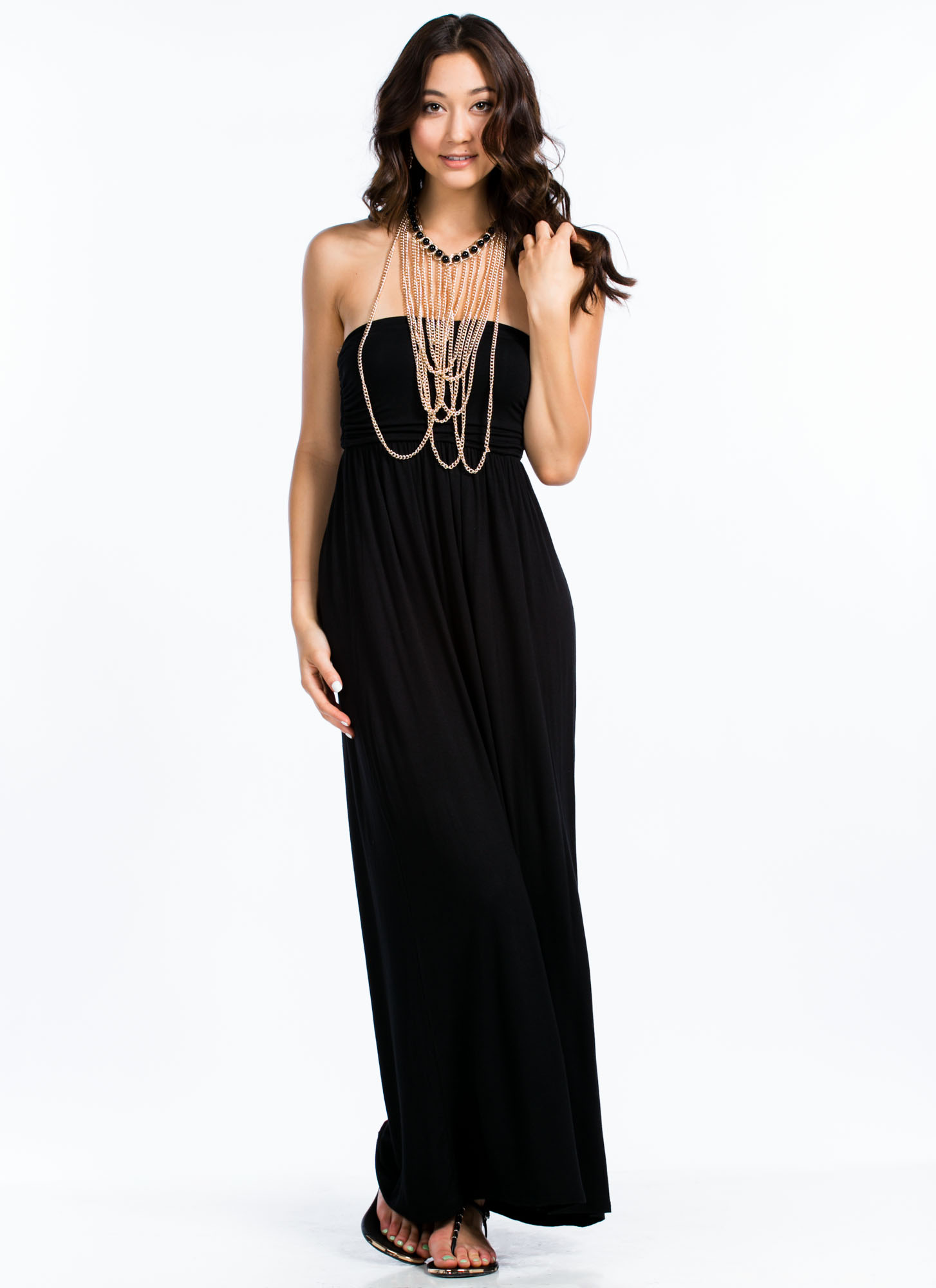 Tube Of A Kind Ruched Side Maxi Dress BLACK