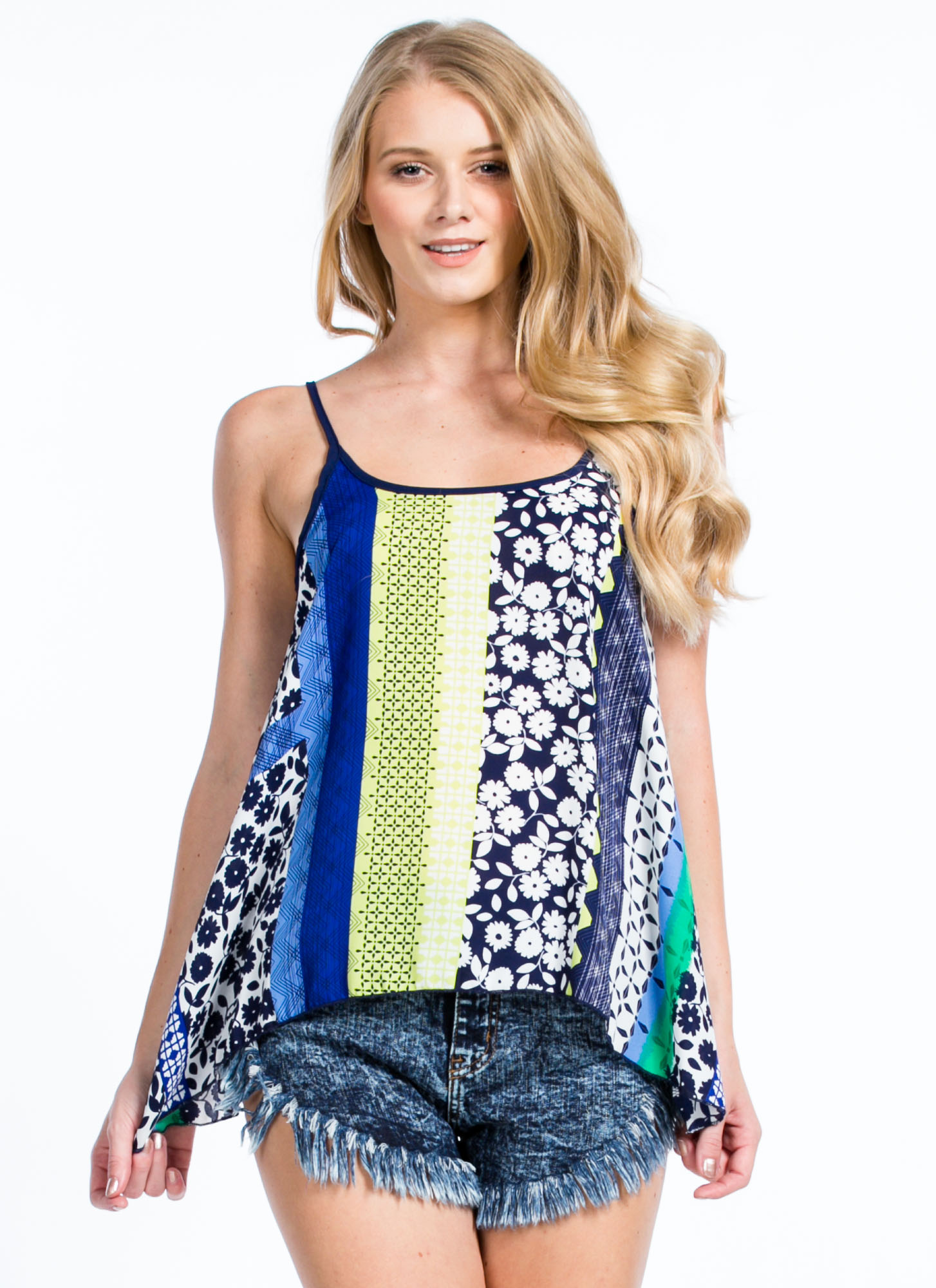 Spring Forward Floral Cami Swing Tank NAVY