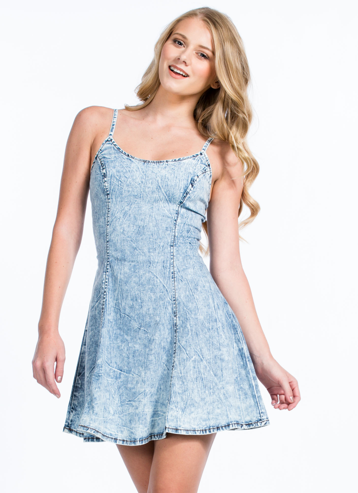 Sweet Tart Acid Wash Skater Dress BLUE