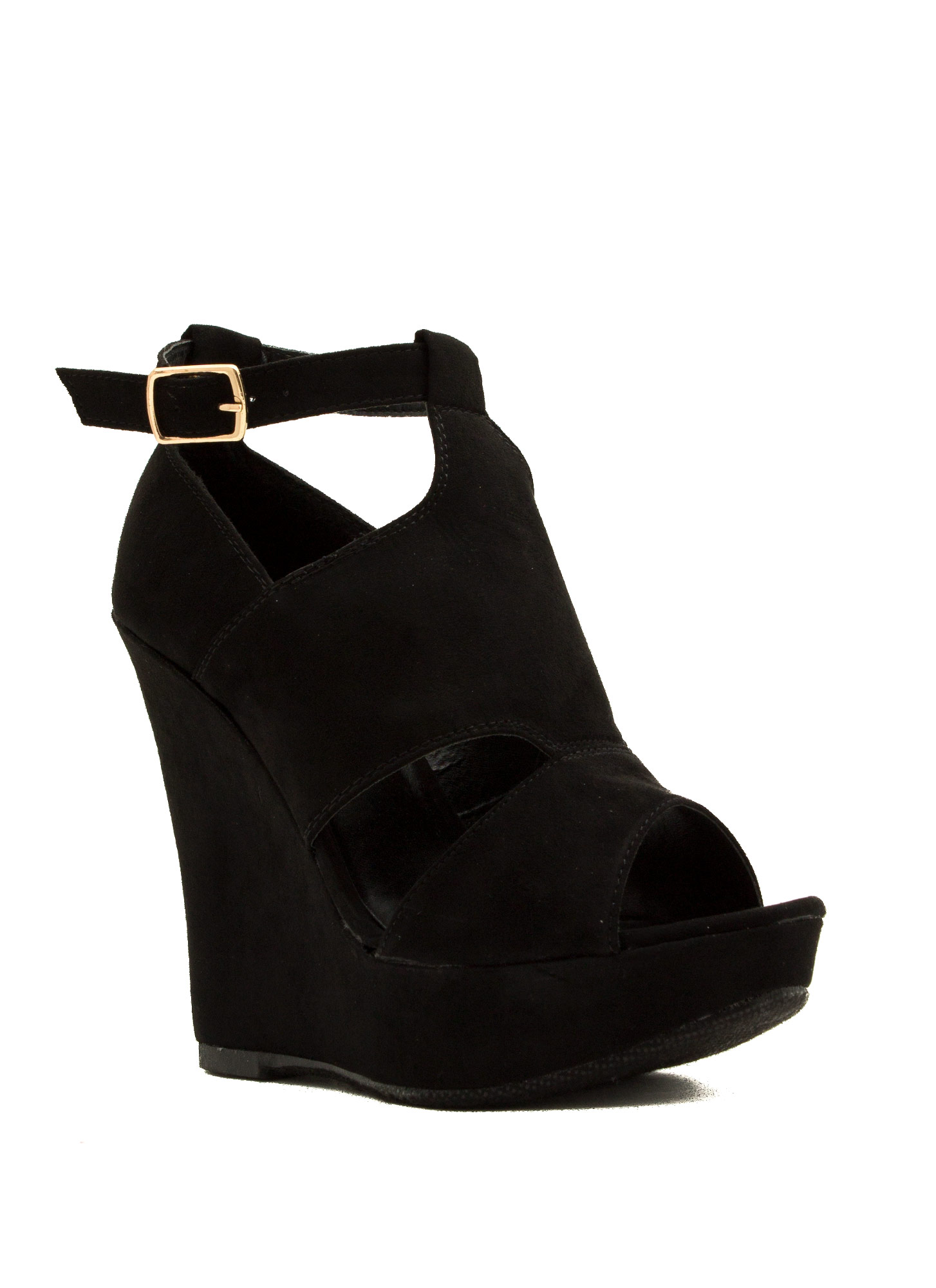 Cut-Out Paneled Peep-Toe Wedges BLACK