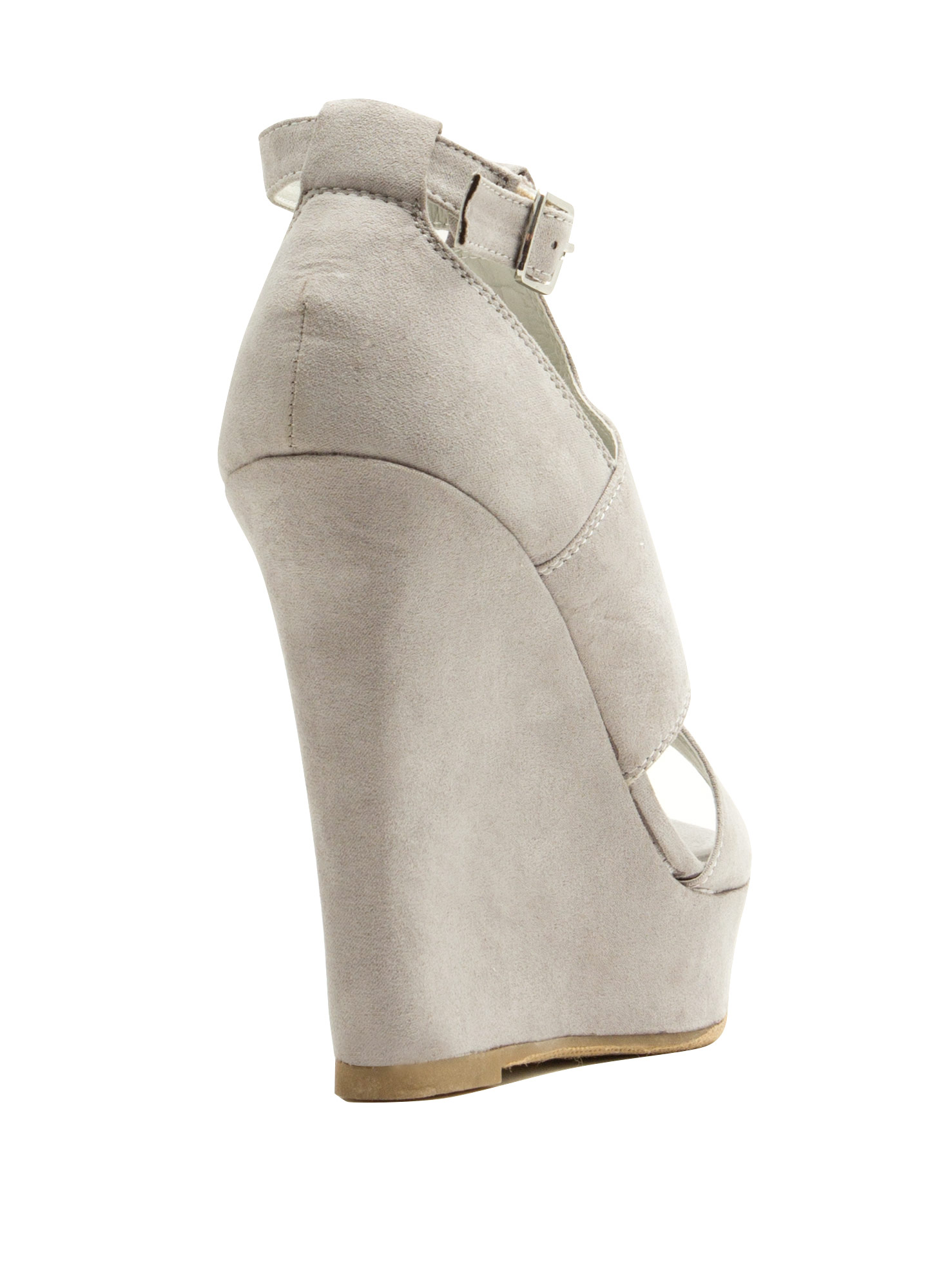 Cut-Out Paneled Peep-Toe Wedges LTGREY