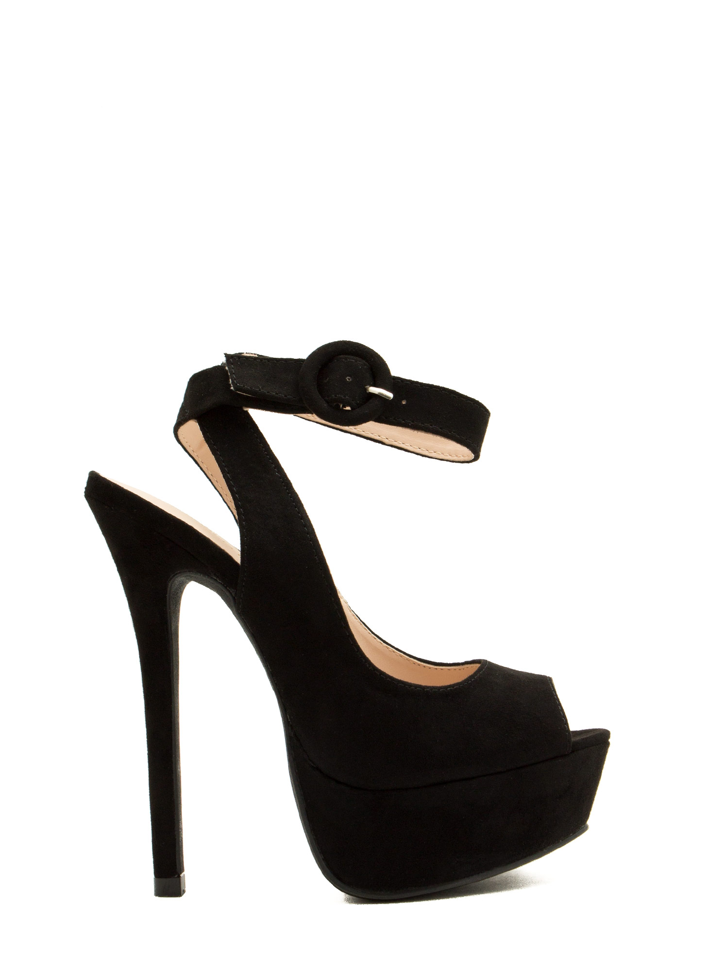 Peep-Toe Show Ankle Strap Platforms BLACK