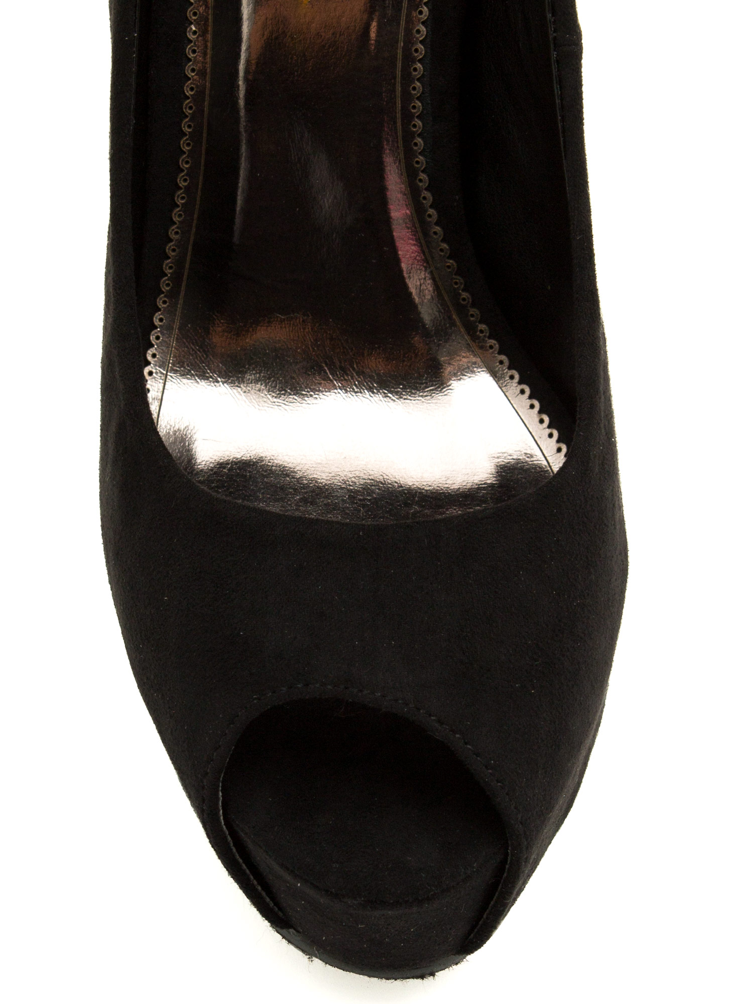Chain Of Scenery Peep-Toe Platforms BLACK