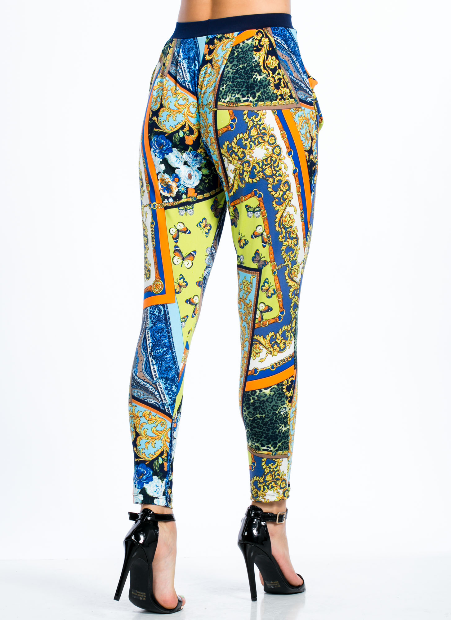 Feel Butterflies Baroque Harem Pants BLUE