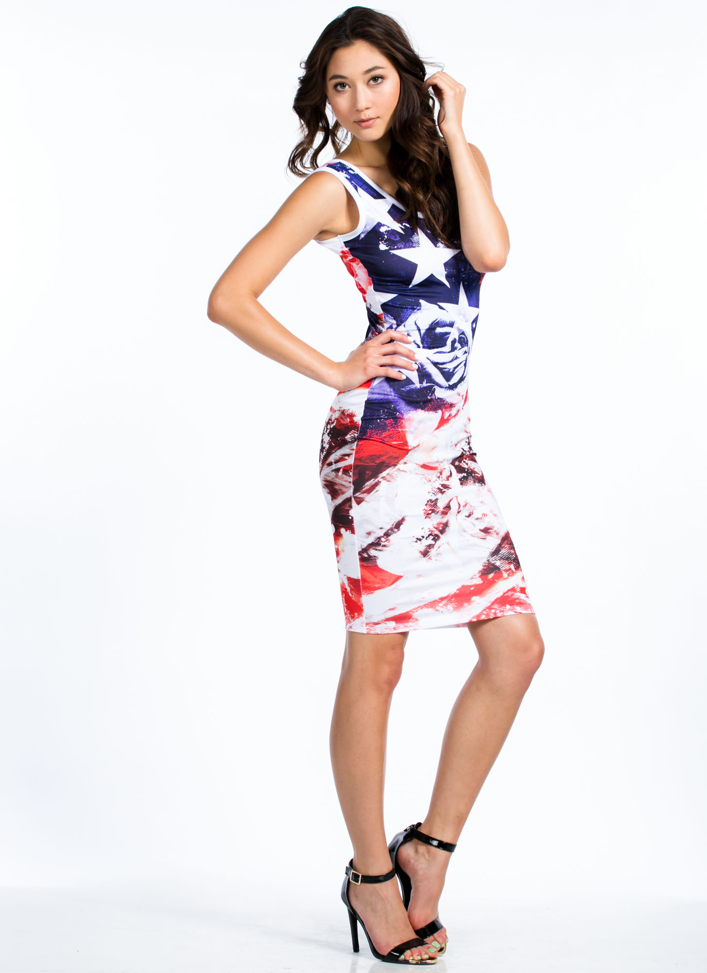 Rose And Shine Streaky Flag Dress BLUERED