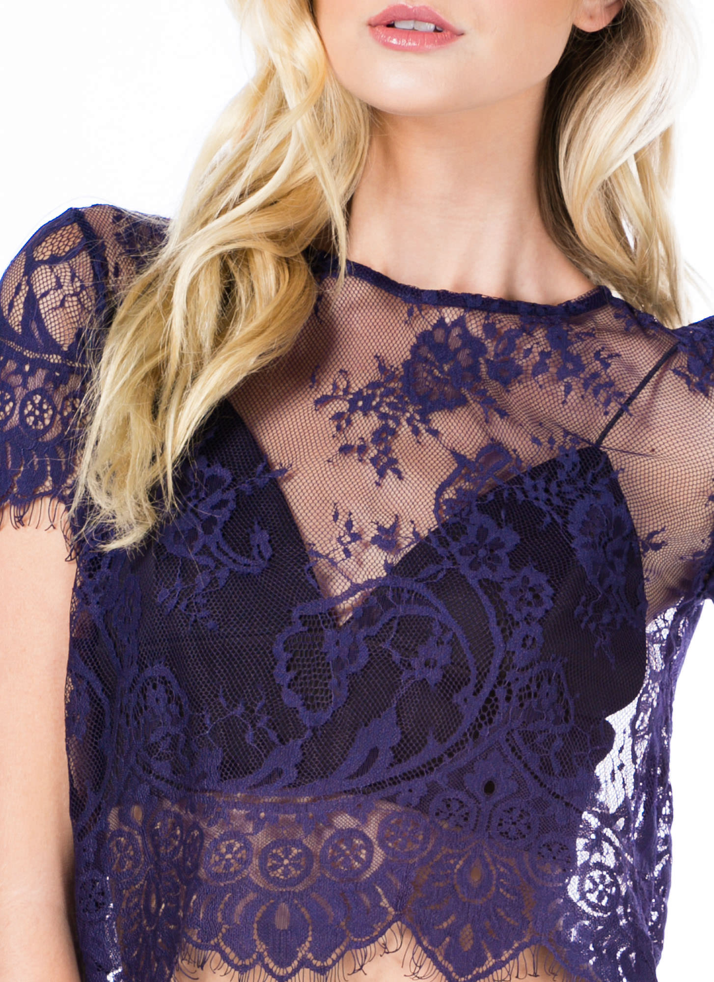 Sheer Hunter Lace Cropped Top NAVY