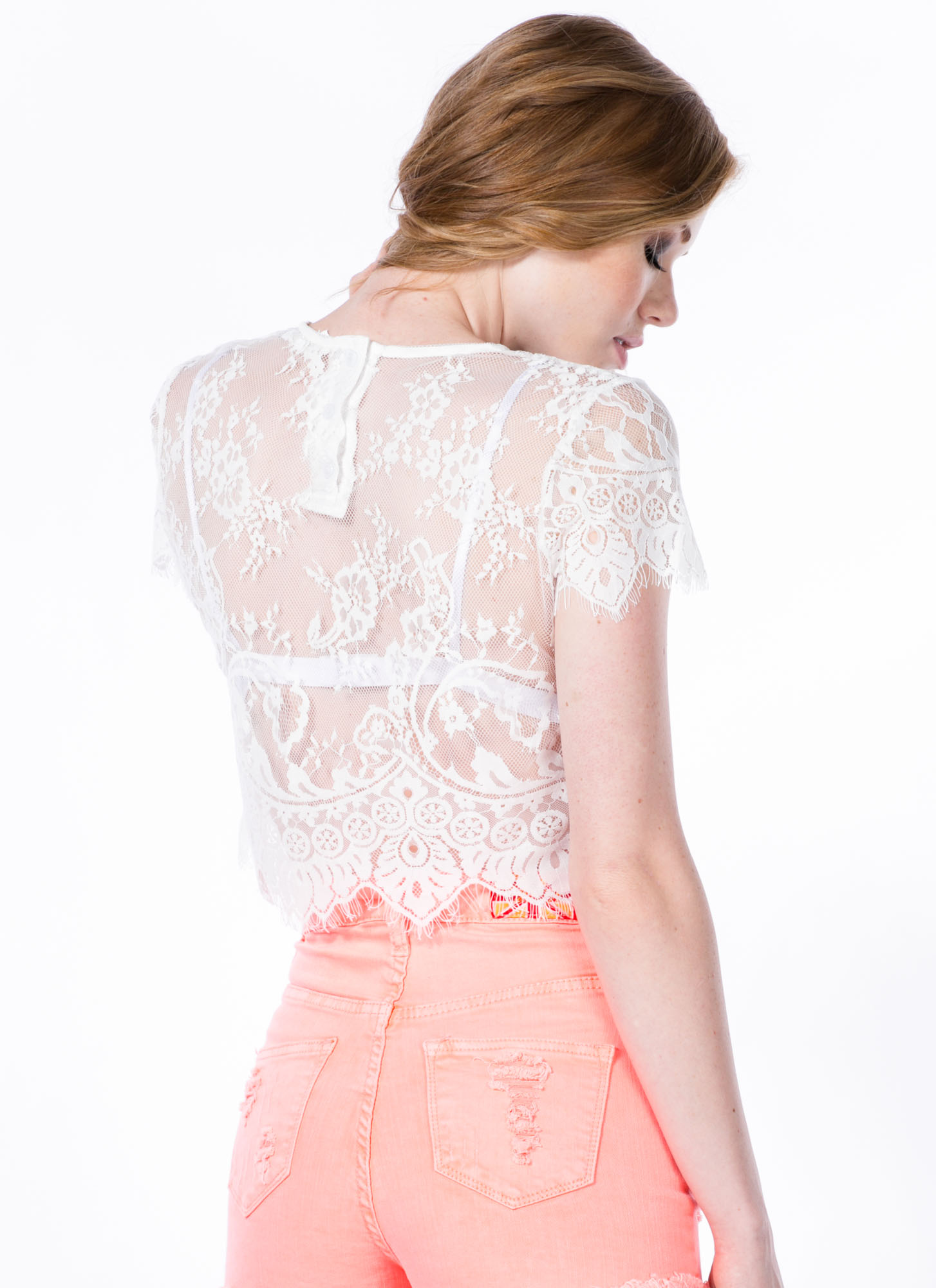 Sheer Hunter Lace Cropped Top WHITE