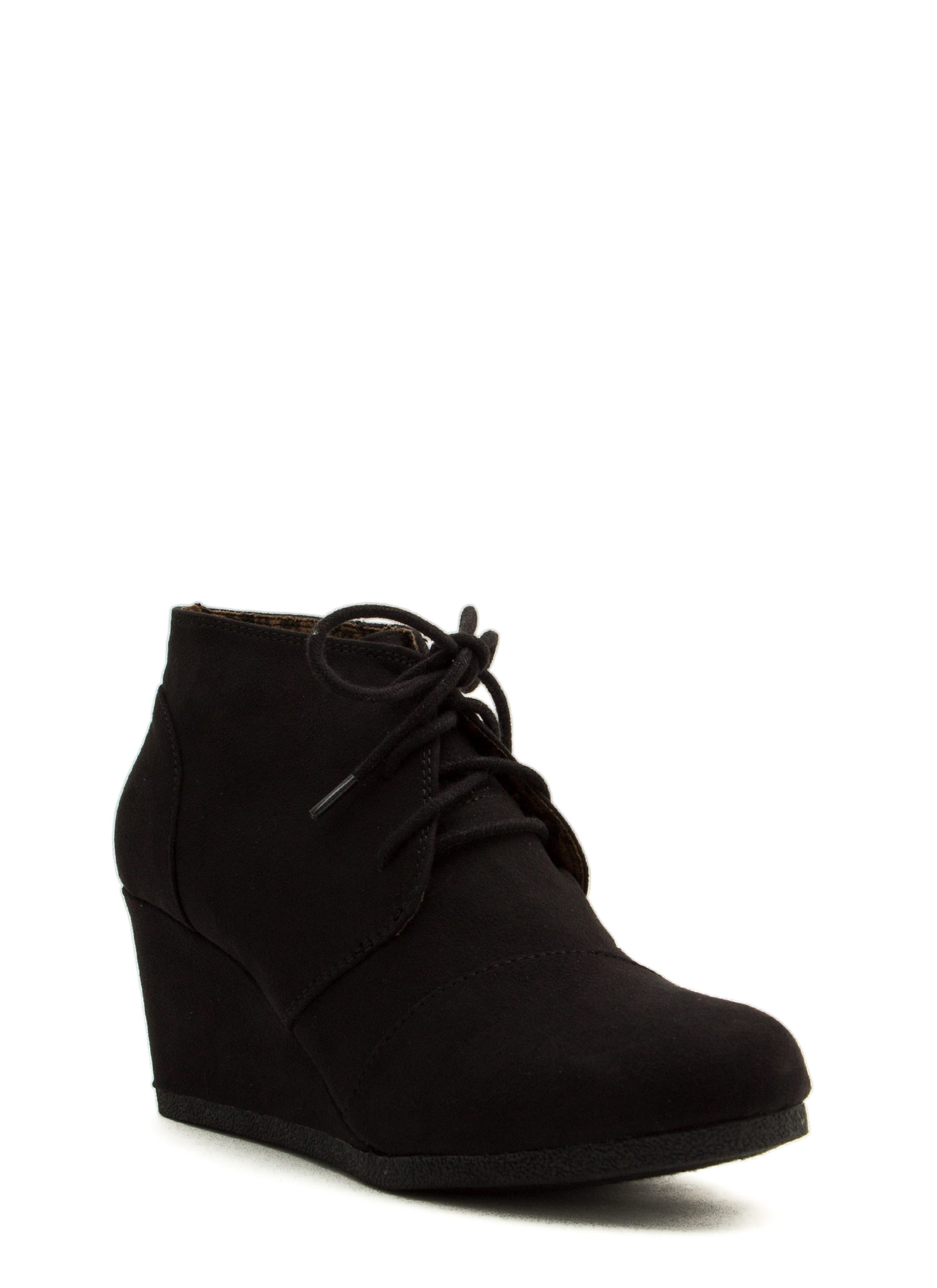 Panel Accent Wedge Booties BLACK