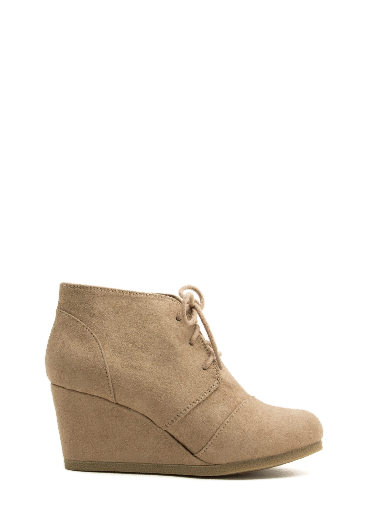 Panel Accent Wedge Booties LTTAUPE