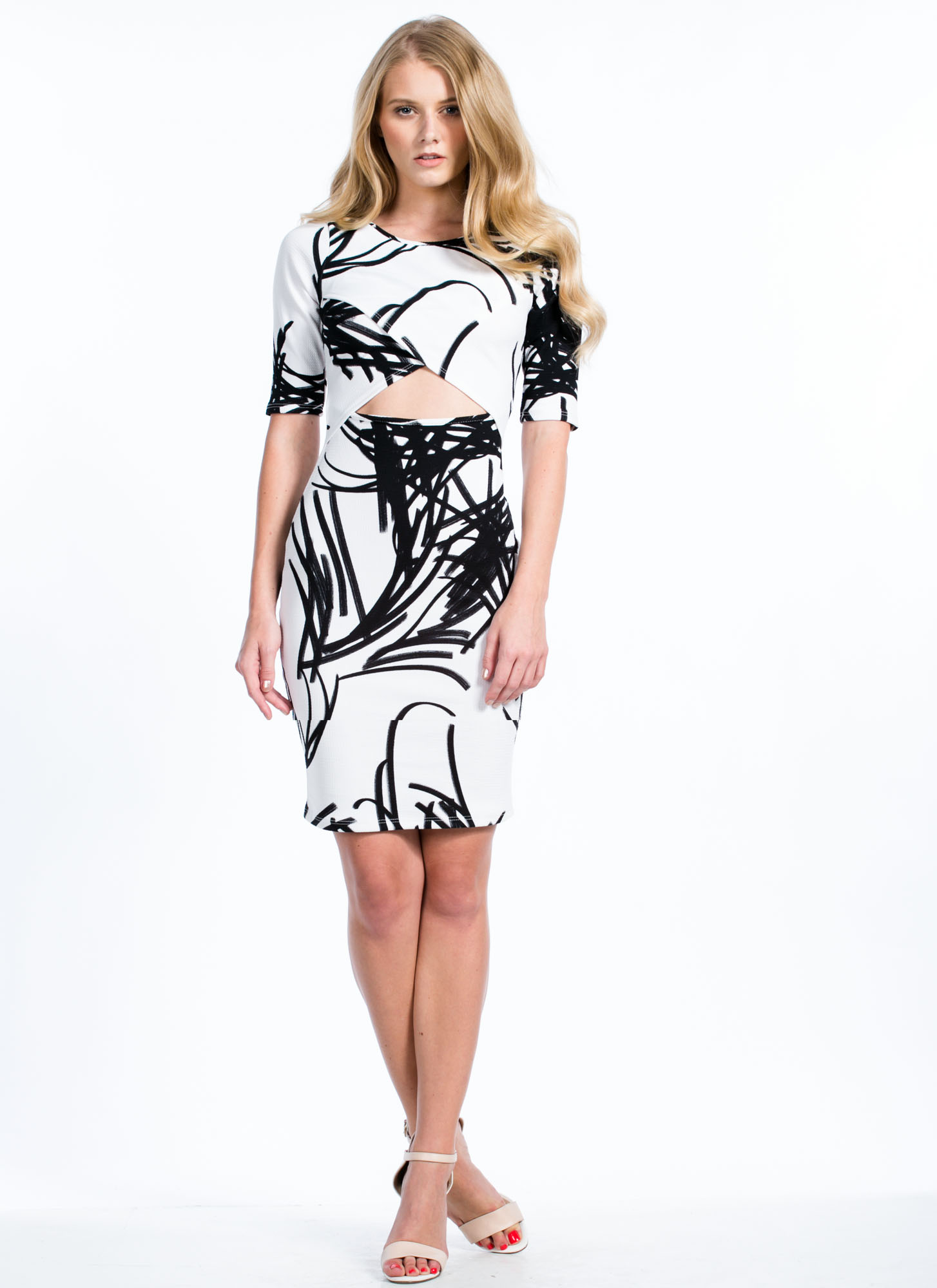 Different Brushstrokes Bodycon Dress WHITE