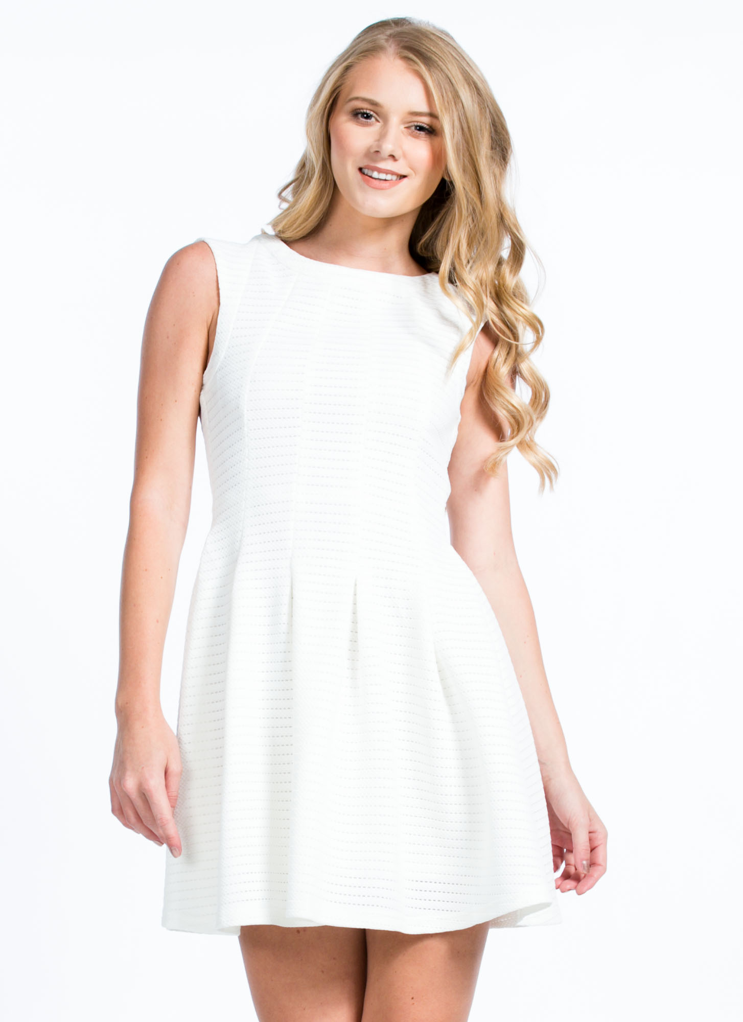 Paneled 'N Perforated Skater Dress WHITE