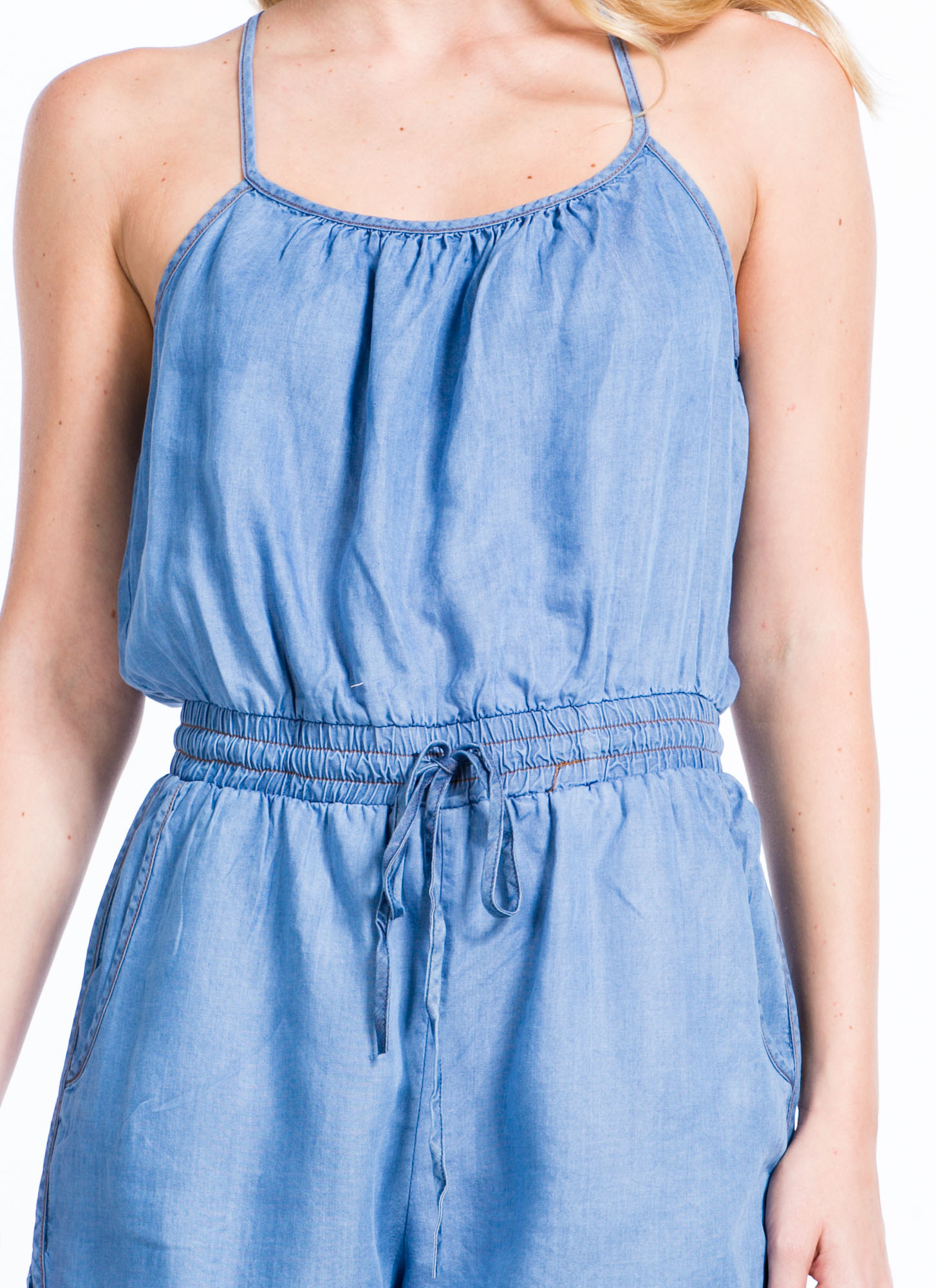 Play In Chambray Drawstring Romper BLUE