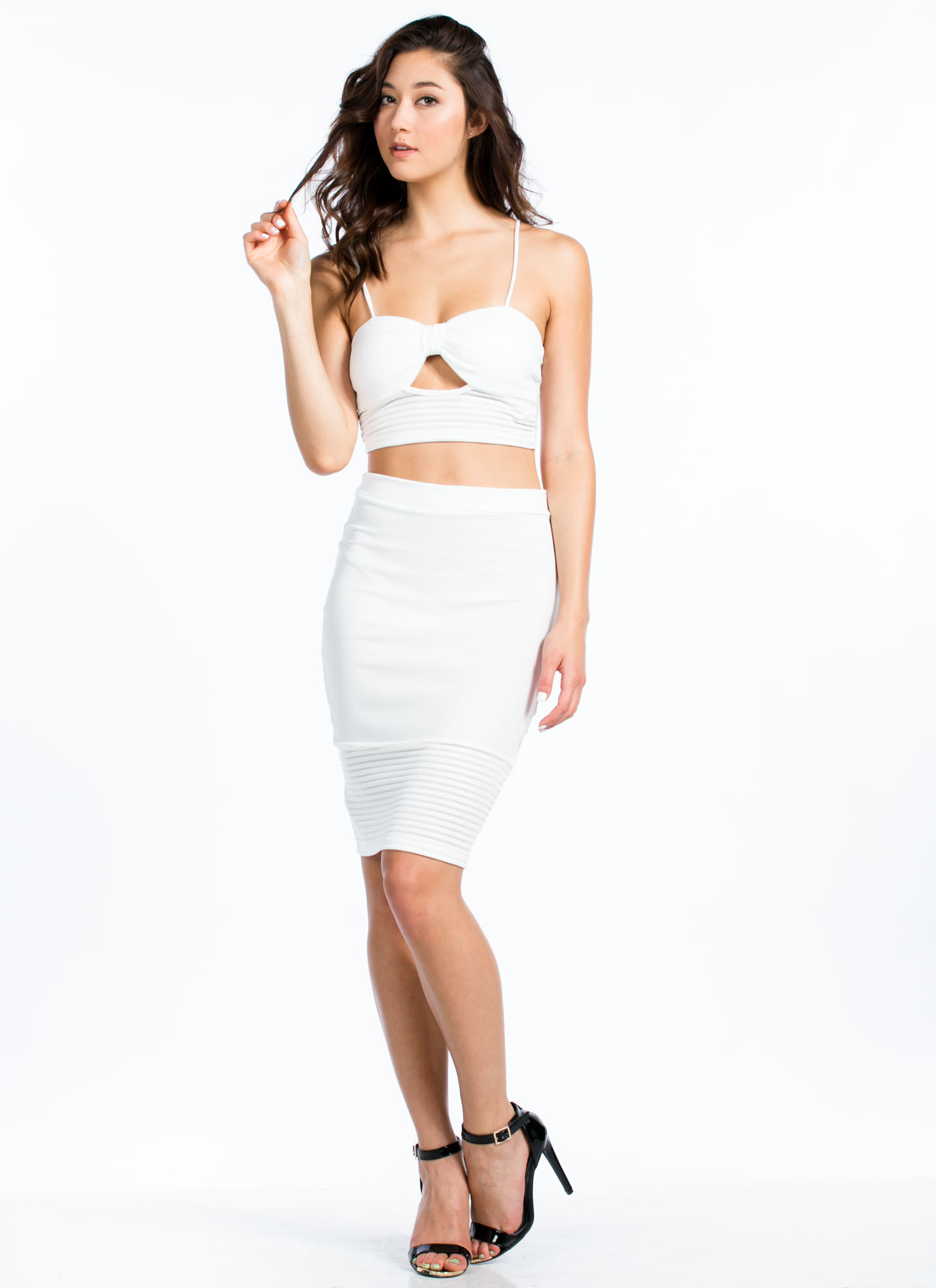 Textured Mesh Stripe Bustier Top WHITE