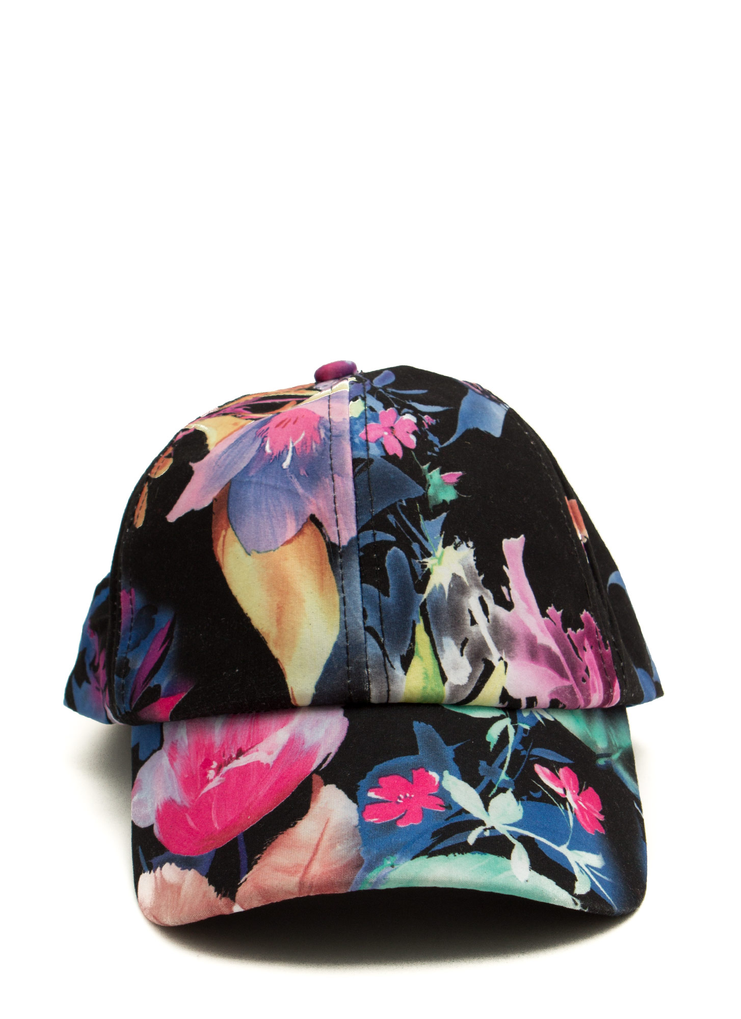 Velvety Painted Tropical Flower Cap BLACKMULTI