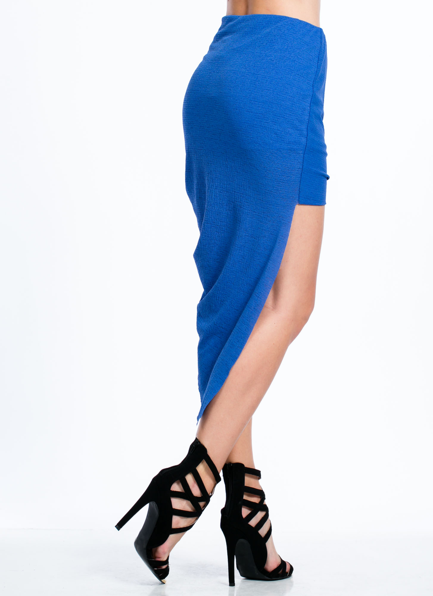 Asymmetrical Draped High-Low Skirt ROYAL