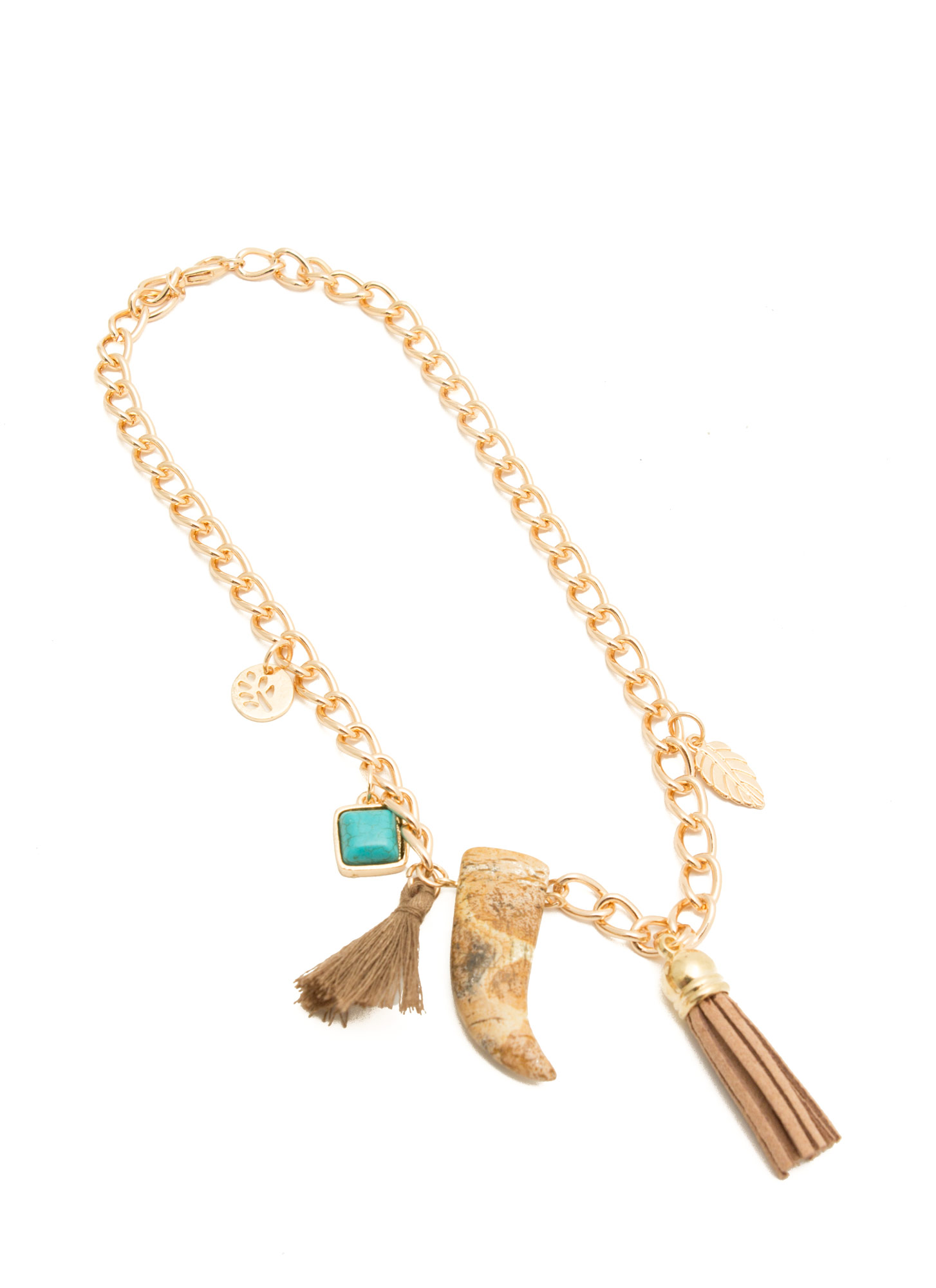 Tassels 'N Stones Charm Necklace GOLD