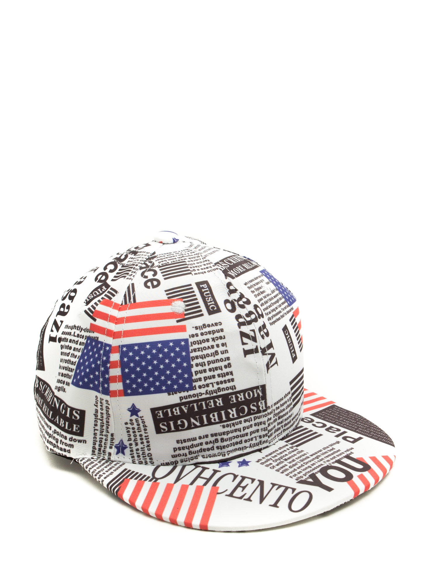 Patriotic Newspaper Snapback Hat WHITEMULTI