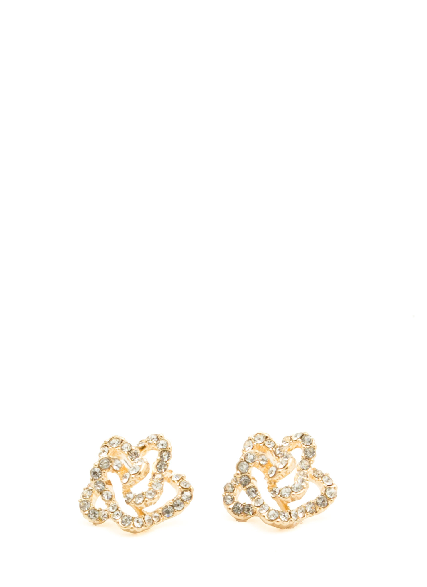 Rhinestone Flower Earrings GOLD