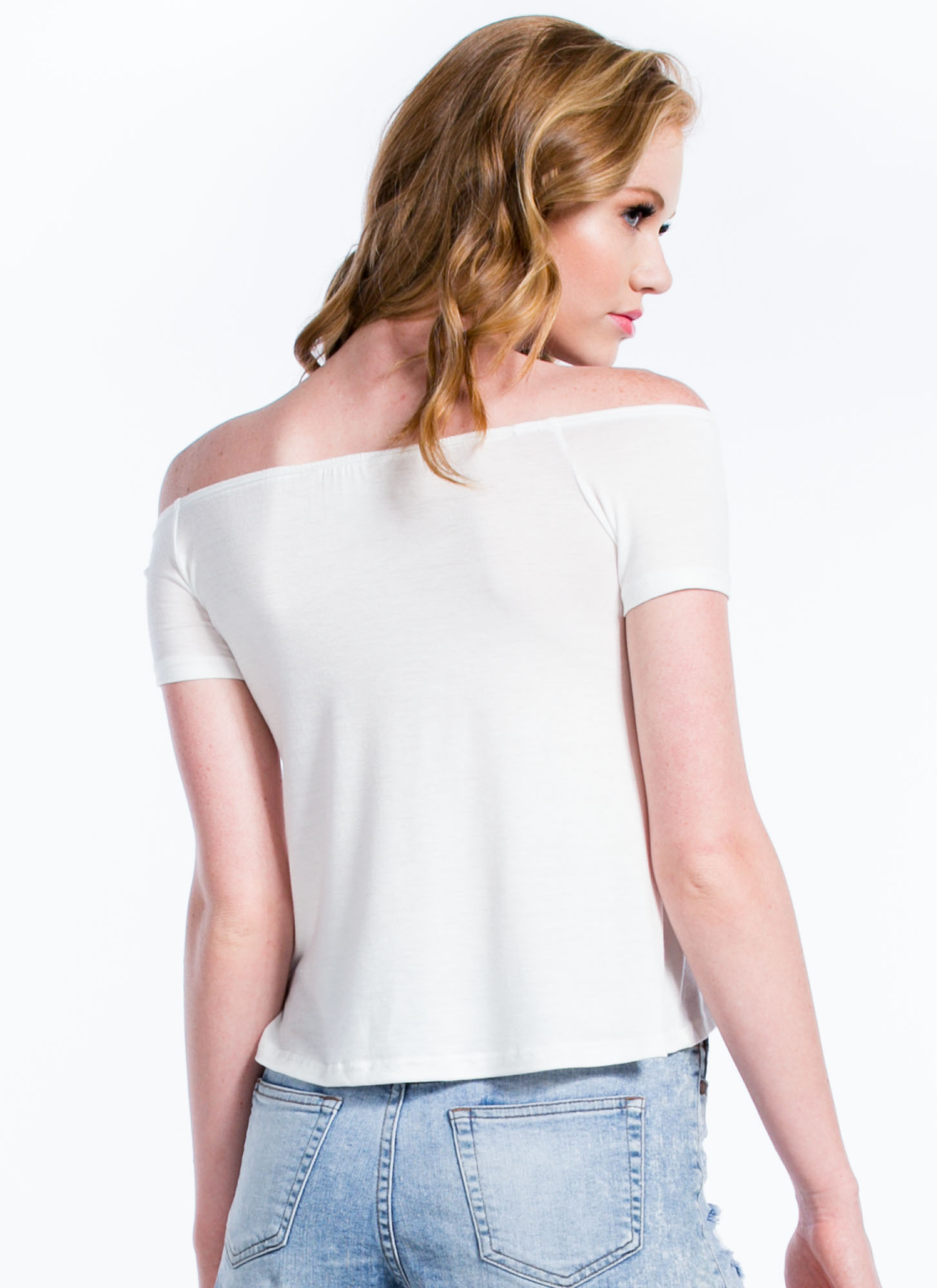 Just Shrug It Off-The-Shoulder Top WHITE