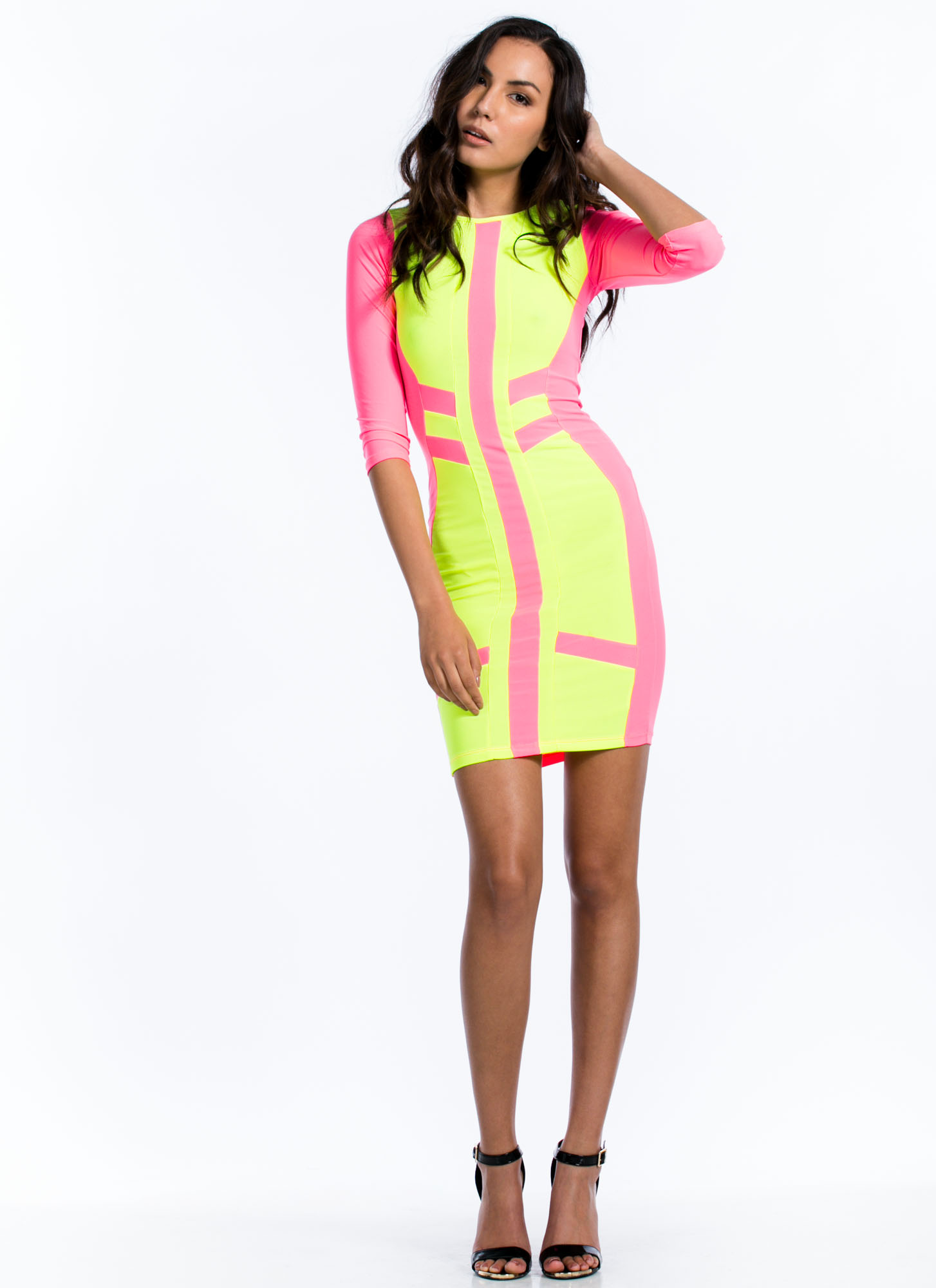 Neon Top Of Your Game Bodycon Dress PINK