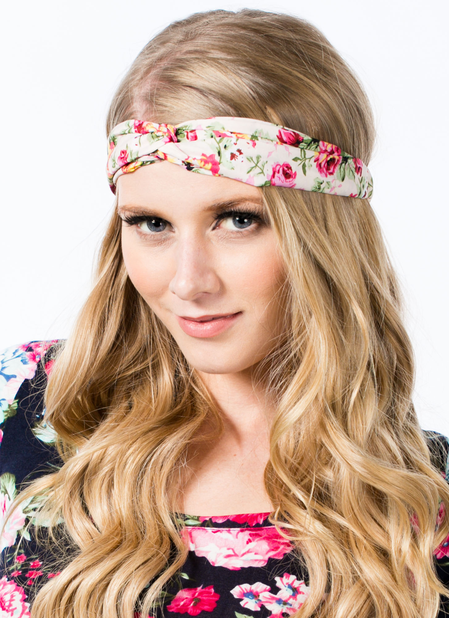 Floral Twisted Headband BEIGE