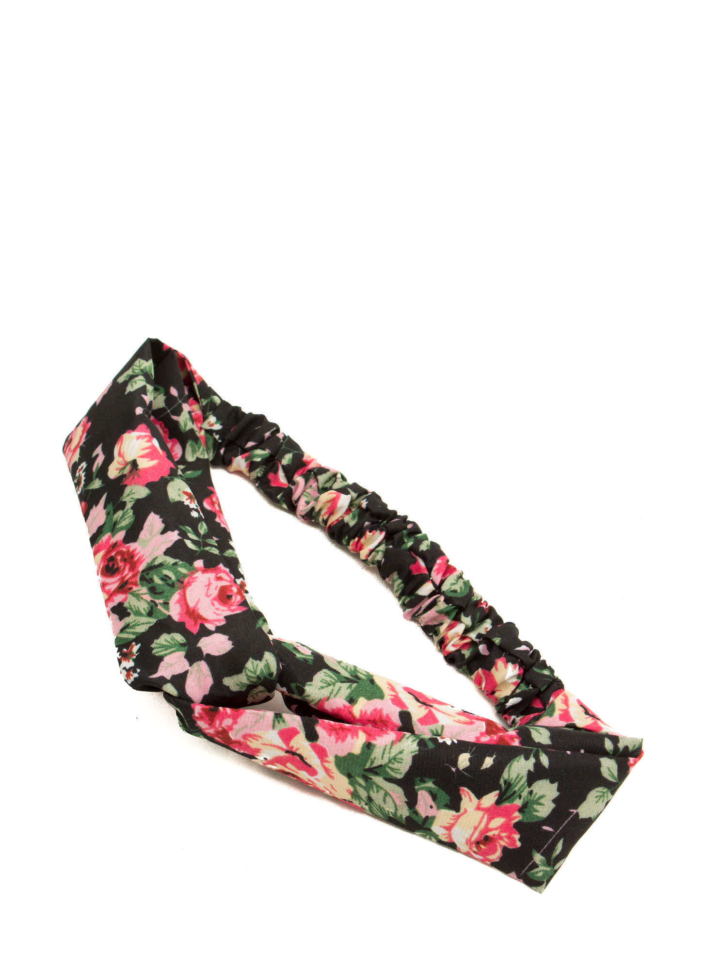 Floral Twisted Headband BLACK