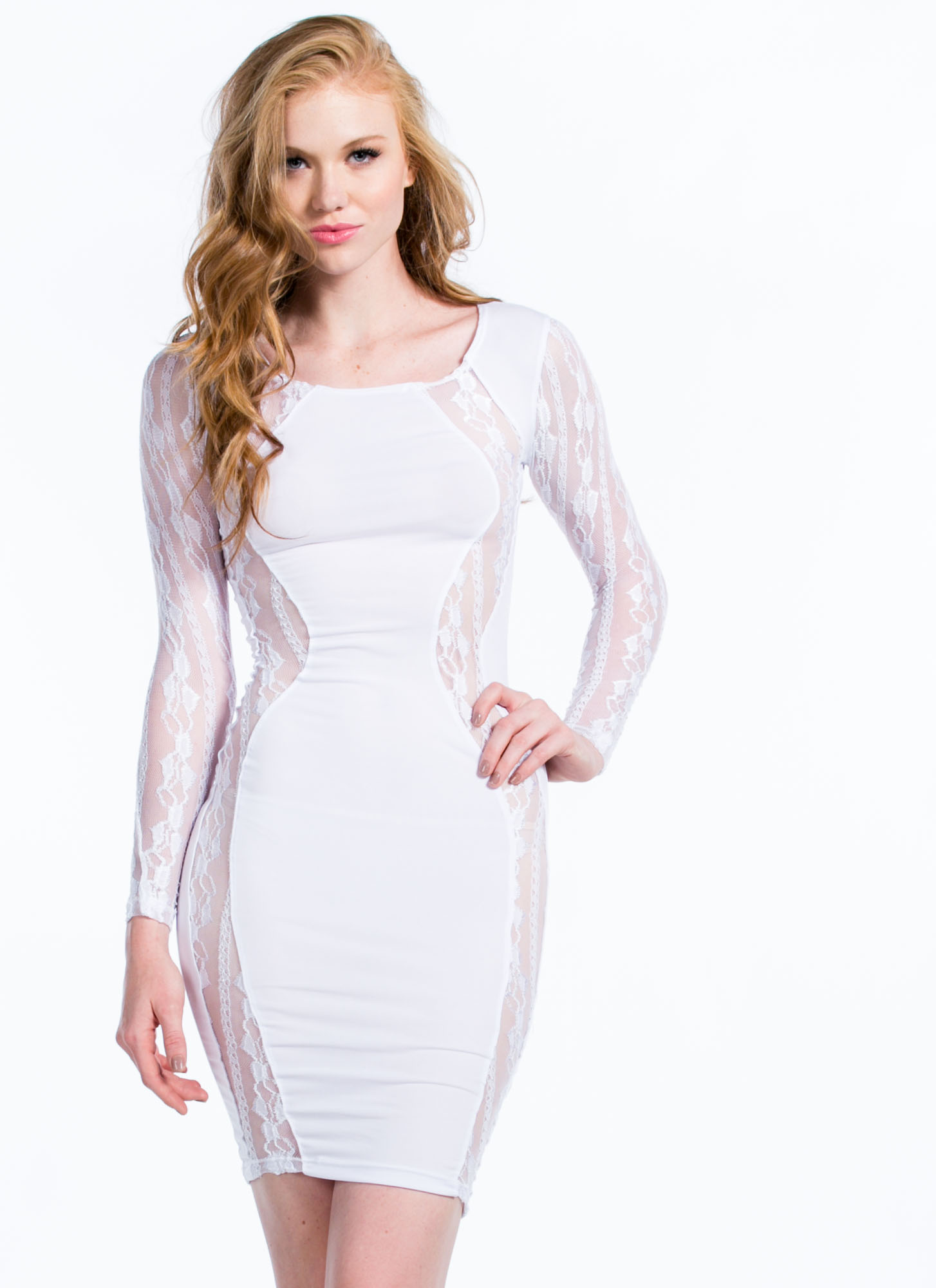 Lace To Lace Contrast Bodycon Dress WHITE