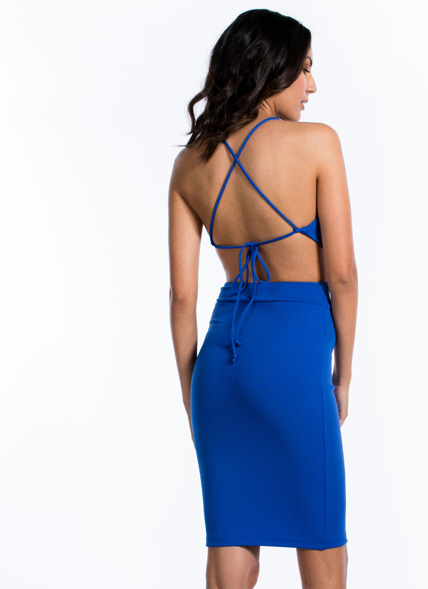 Make The Cut Textured Tie-Back Dress ROYAL