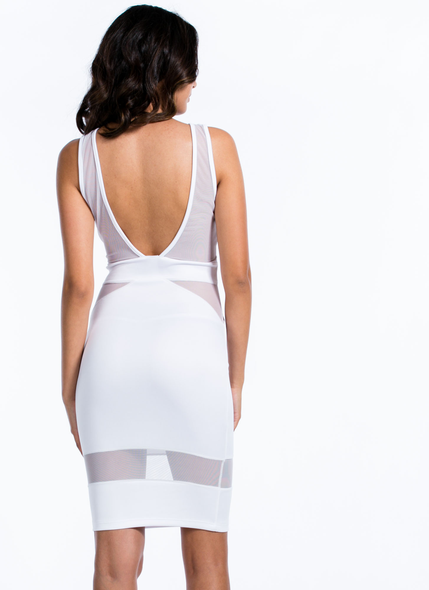 You Mesh Well Together Midi Dress WHITE
