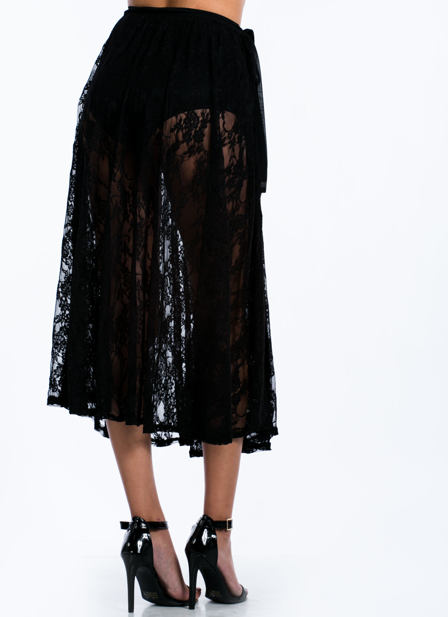 Sheer Lace Midi Skirt BLACK