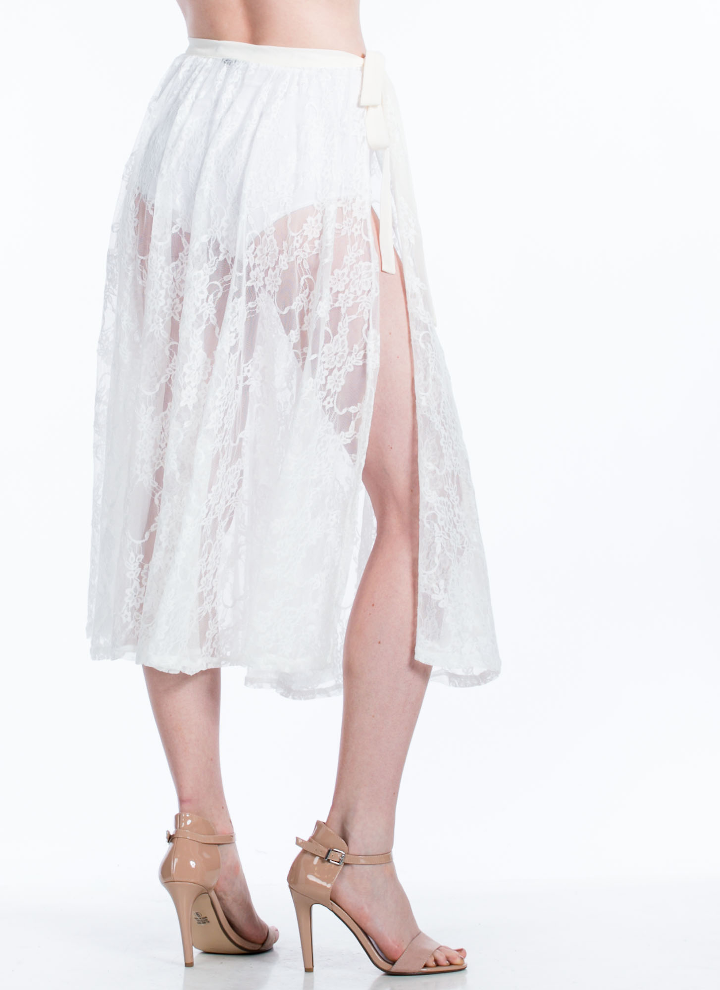 Sheer Lace Midi Skirt IVORY