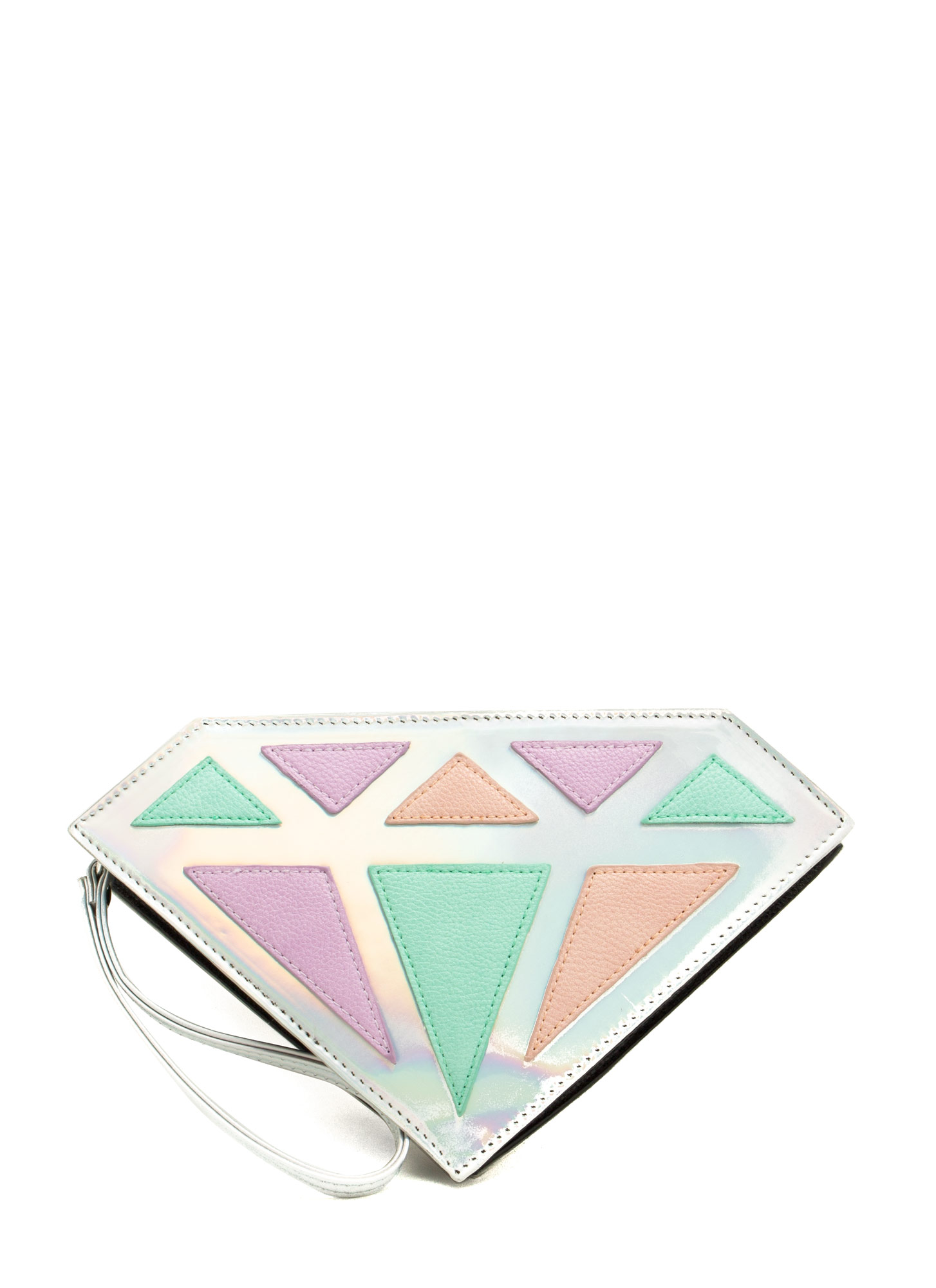 Holographic Diamond Clutch SILVERMULT