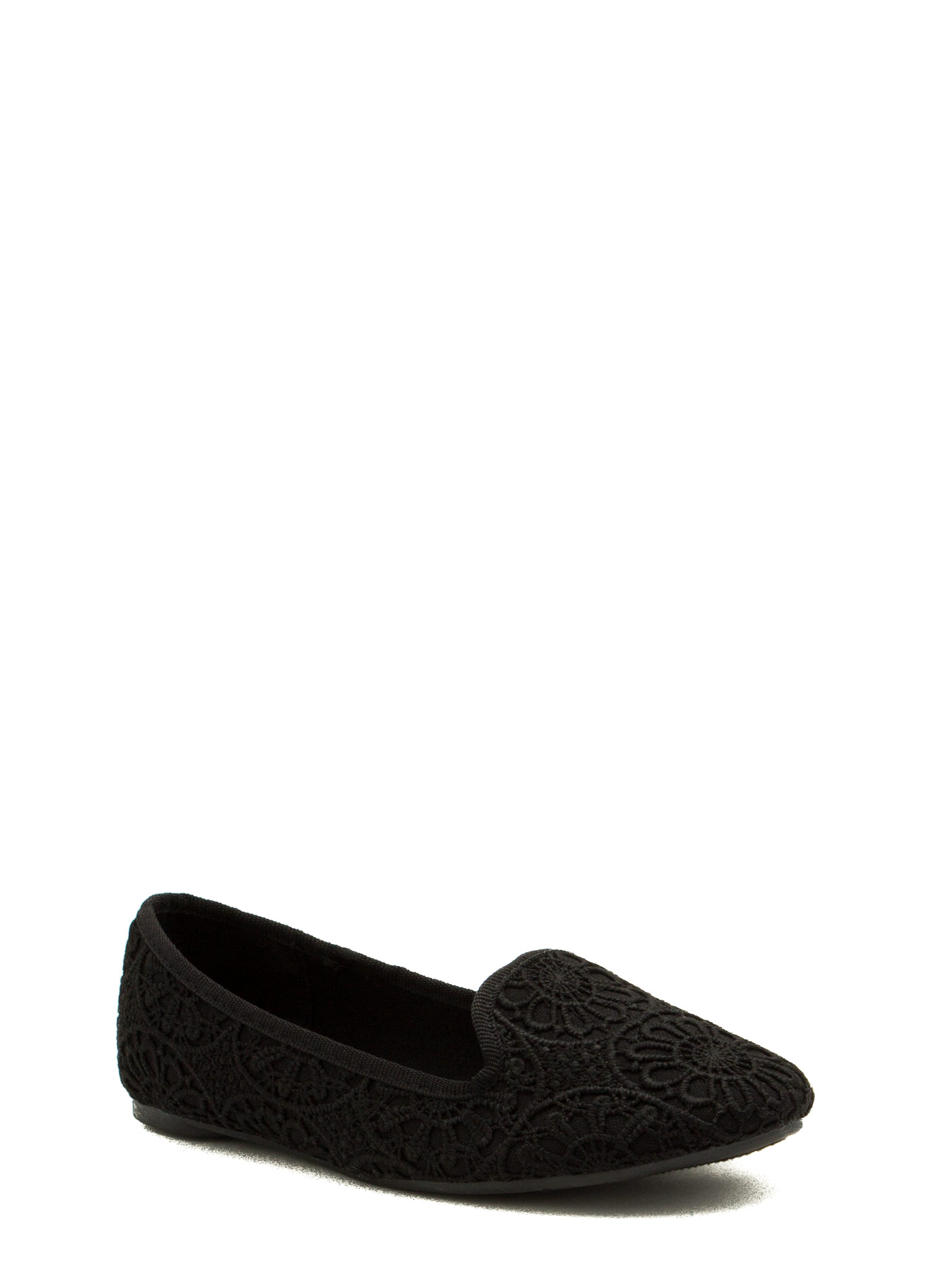 Medallion Crochet Smoking Flats BLACK