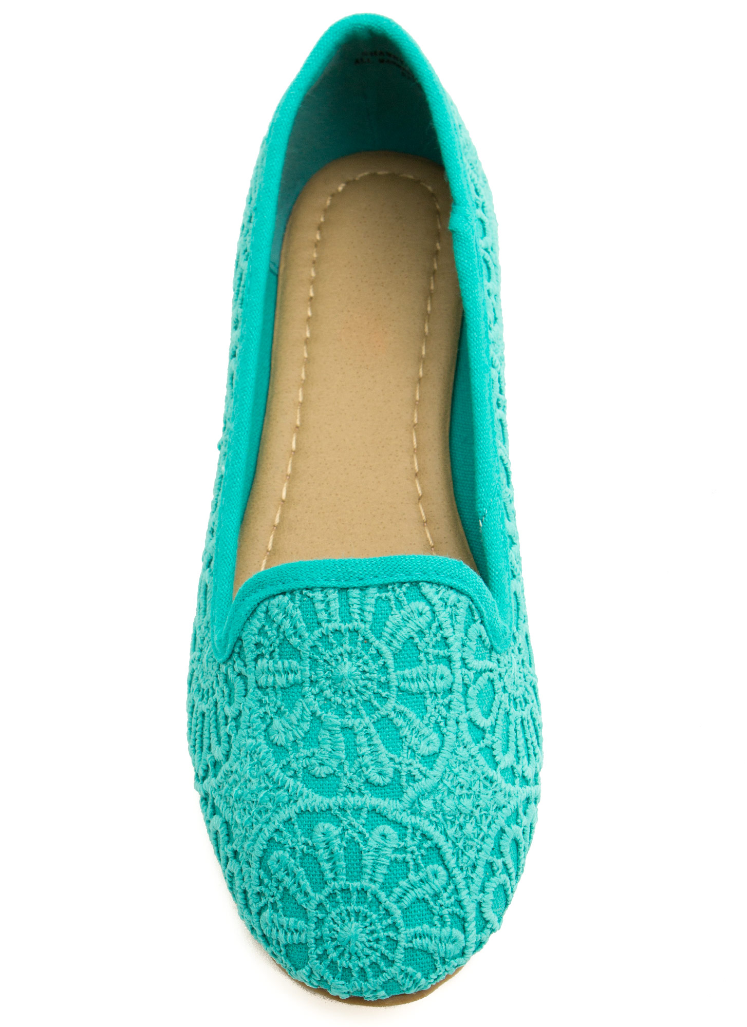 Medallion Crochet Smoking Flats MINT