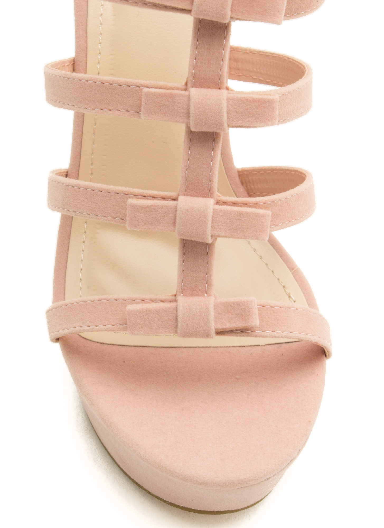 Laddered Bows Platform Wedges ROSE