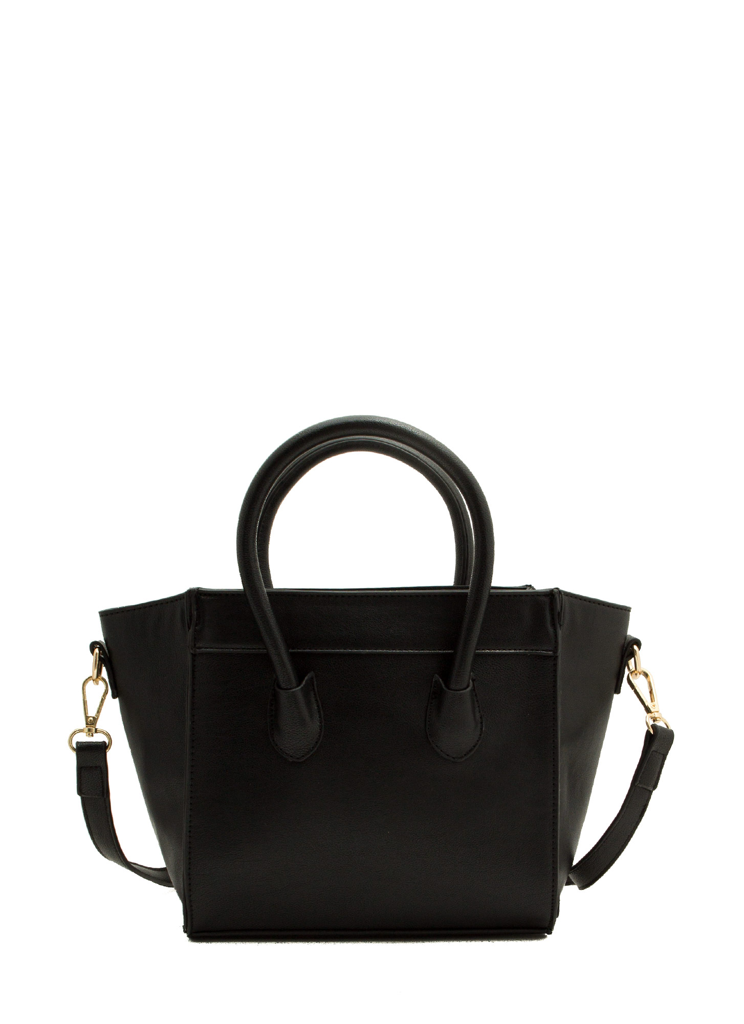 Faux Leather Flared Mini Bag BLACK