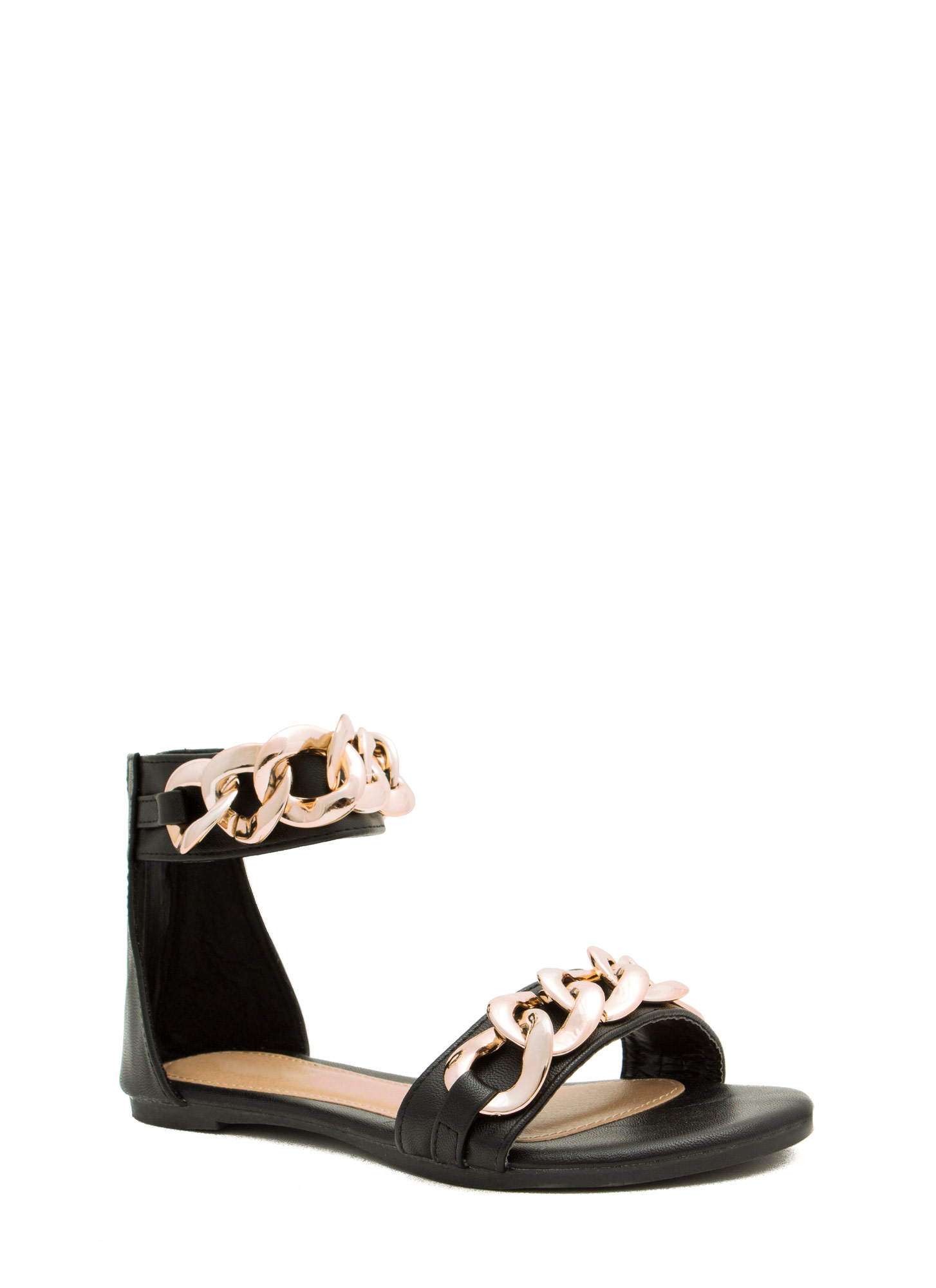 No Weak Links Here Chained Sandals BLACK