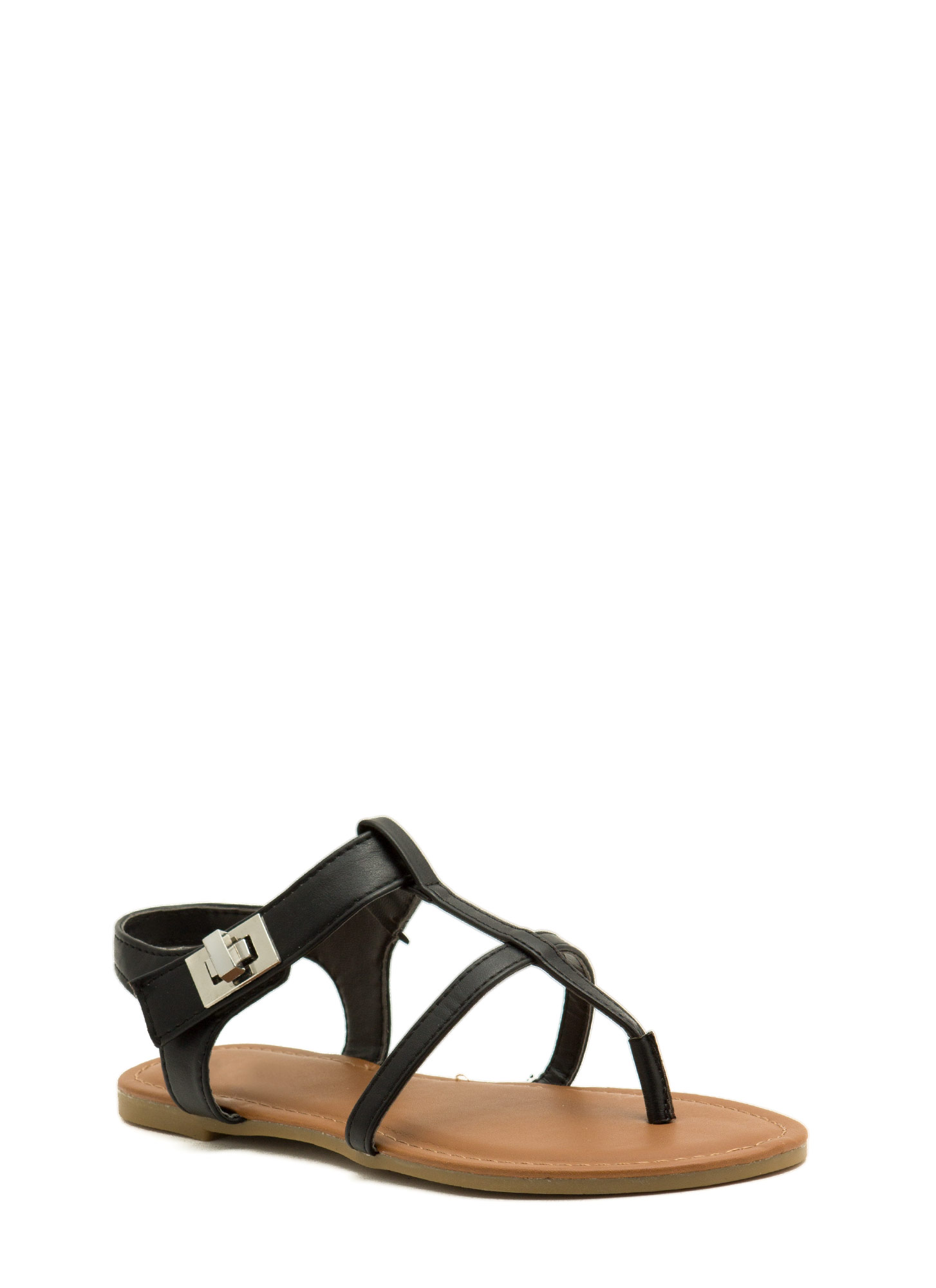 Locked Away Ankle Strap Sandals BLACK