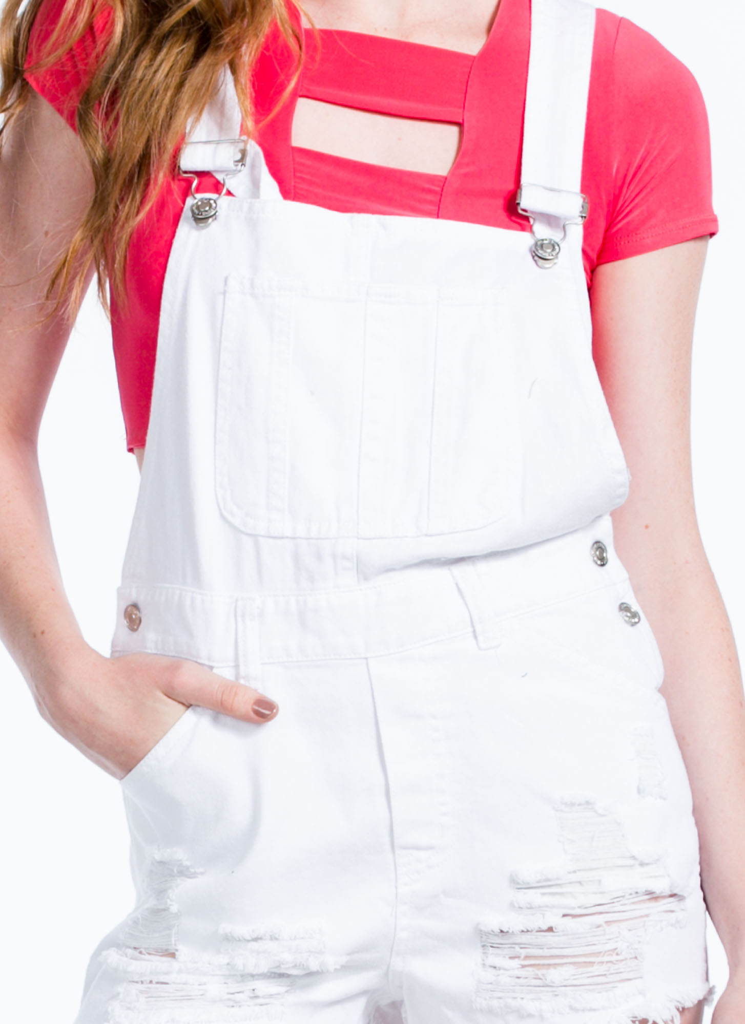 Torn N Shredded Denim Shortalls WHITE