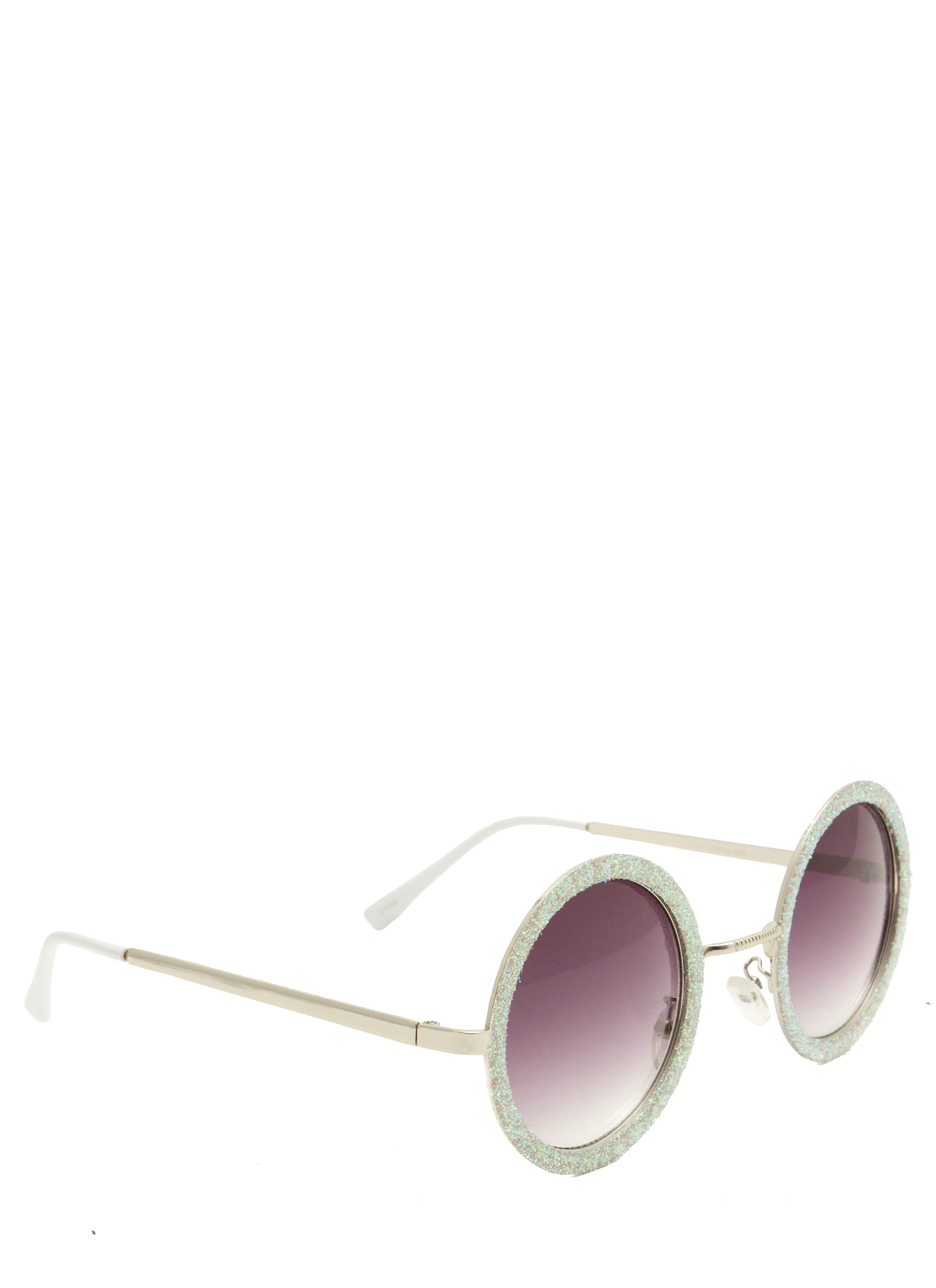 Glitzy Round Sunglasses WHITE