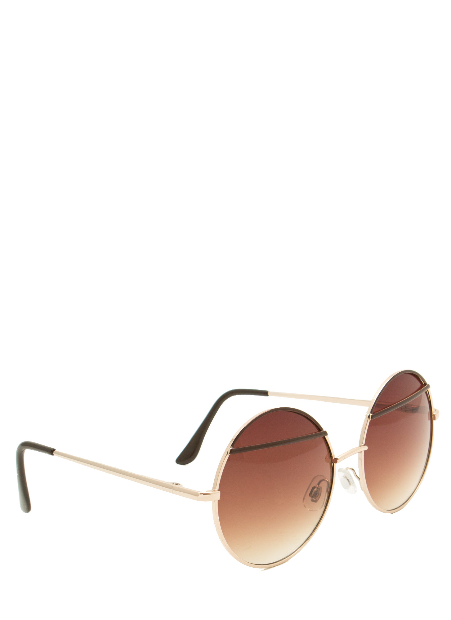 Bar Topped Round Sunglasses BROWN