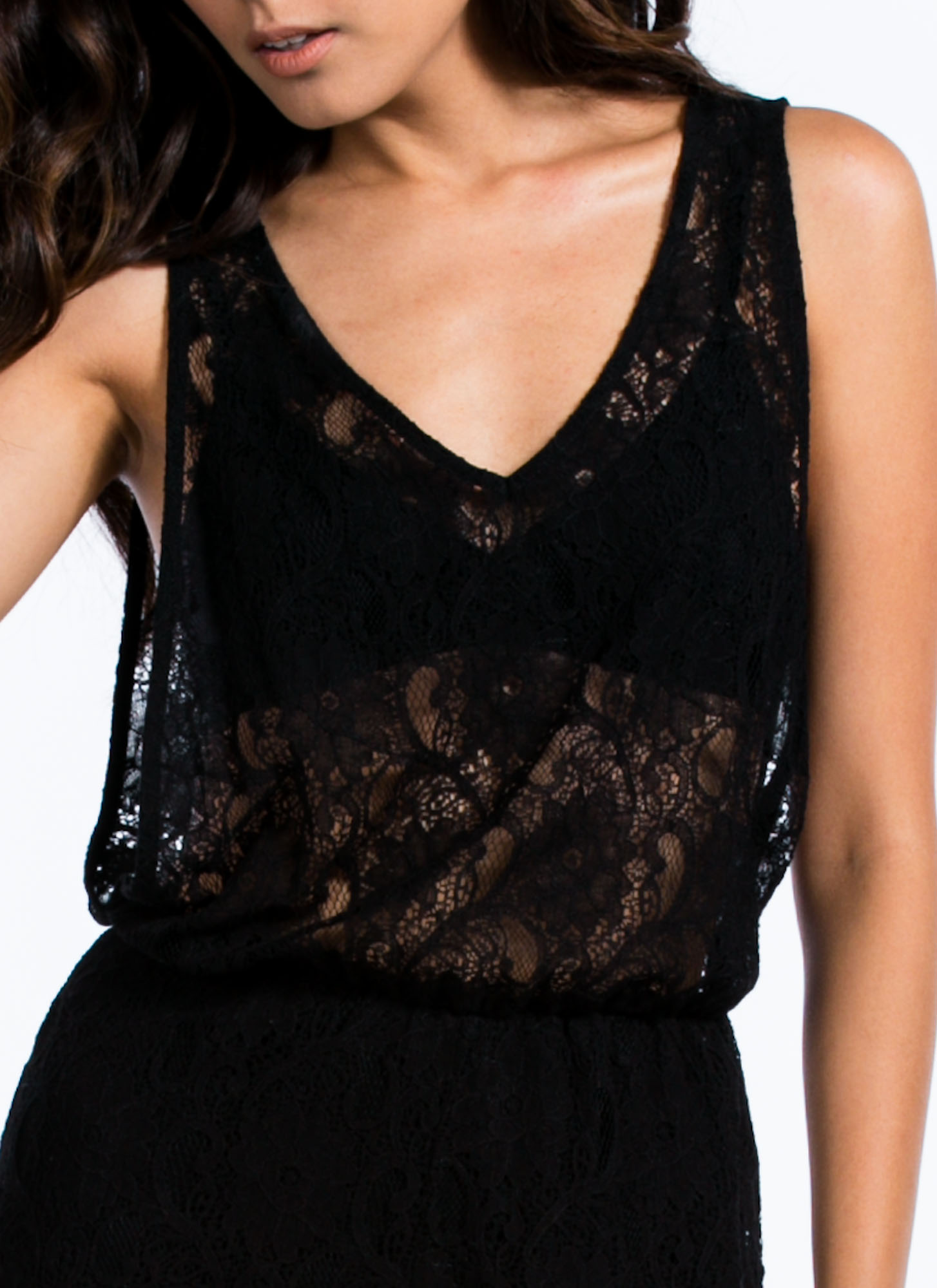 Lace You Up Romper BLACK