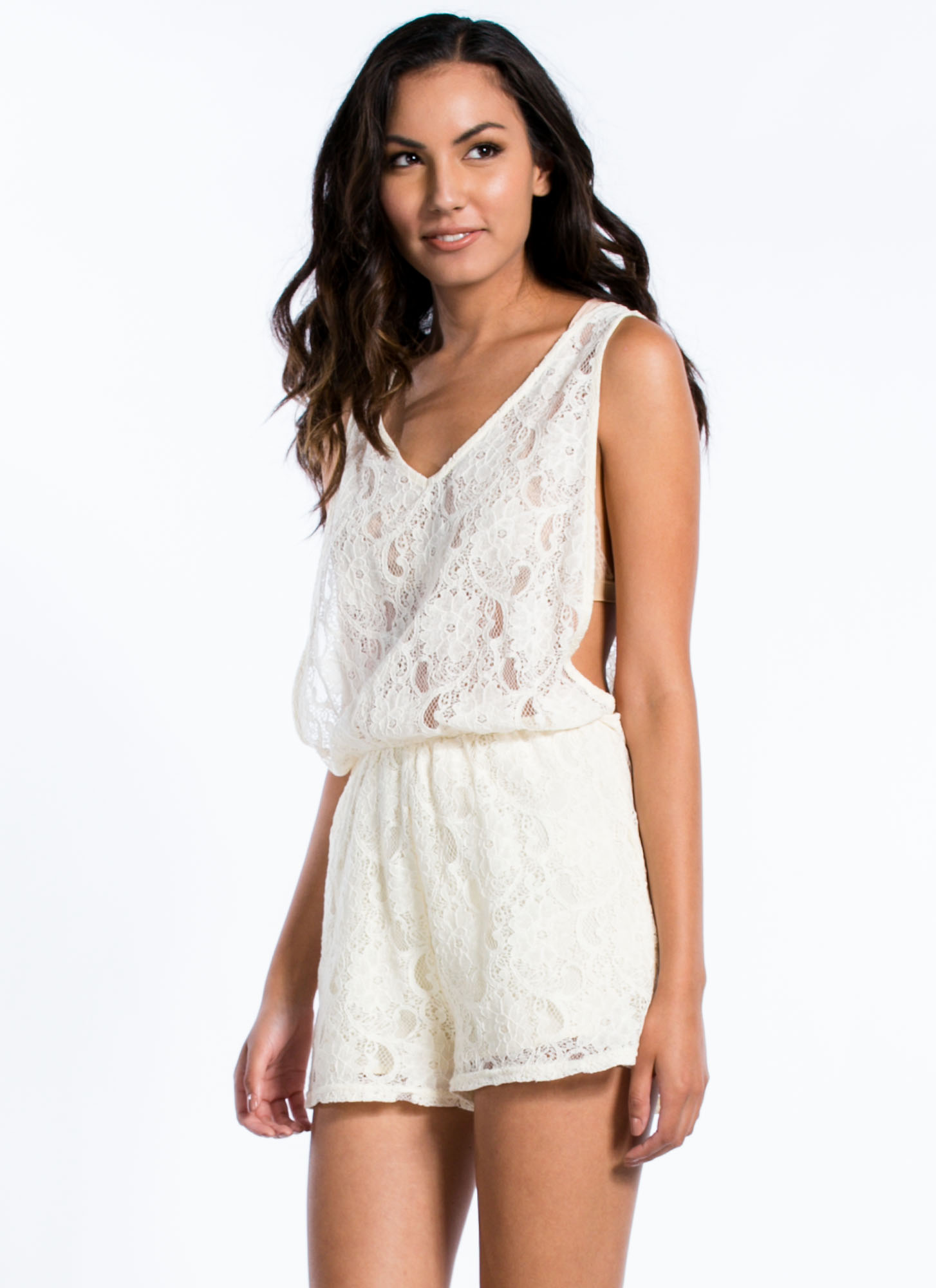 Lace You Up Romper CREAM