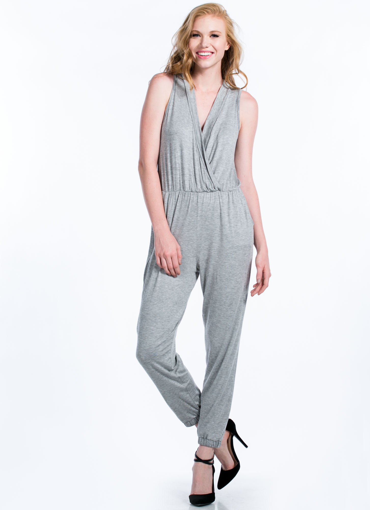 Basic Surplice Jumpsuit GREY