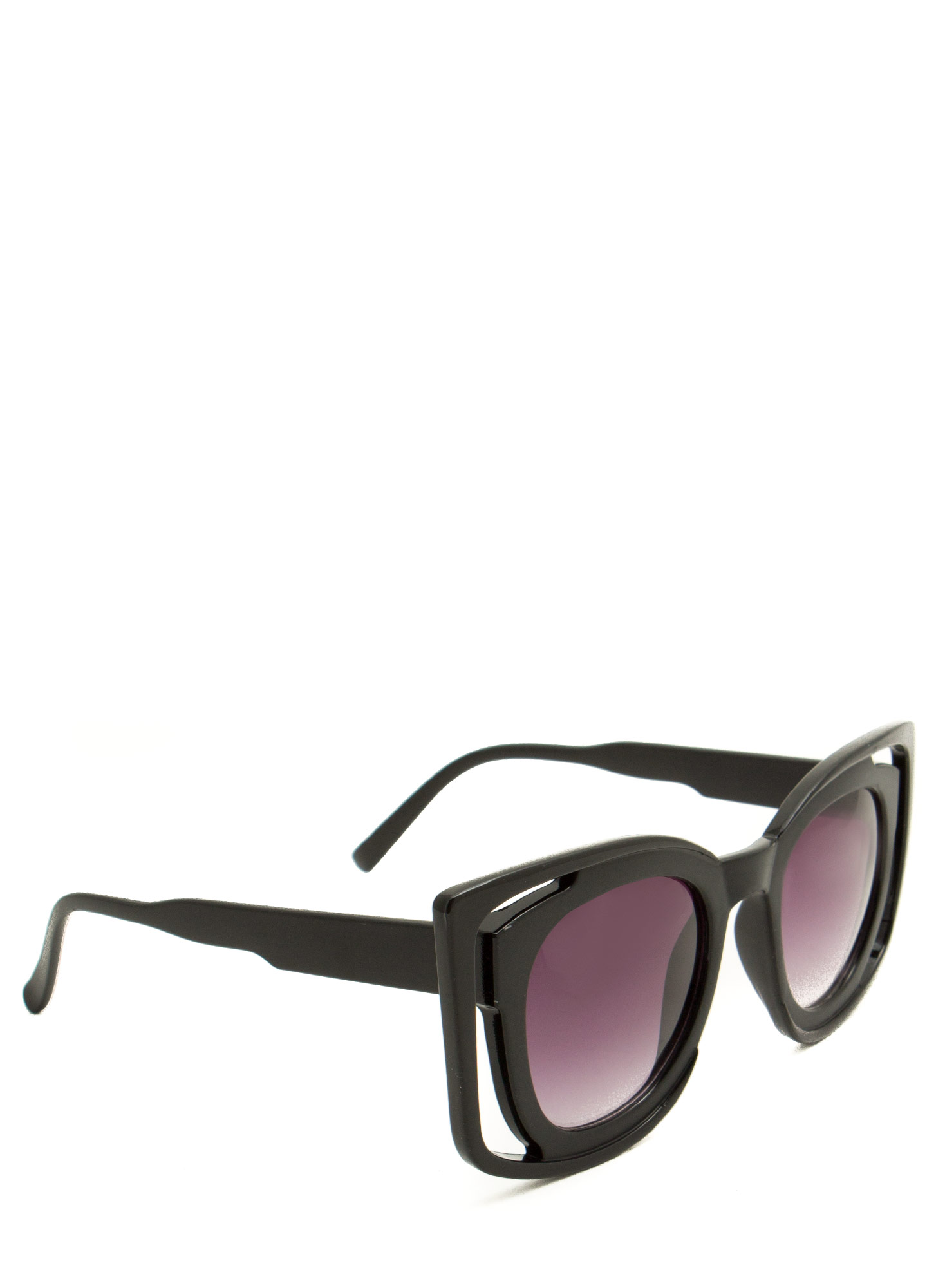 Double Frame Squared Sunglasses BLACK