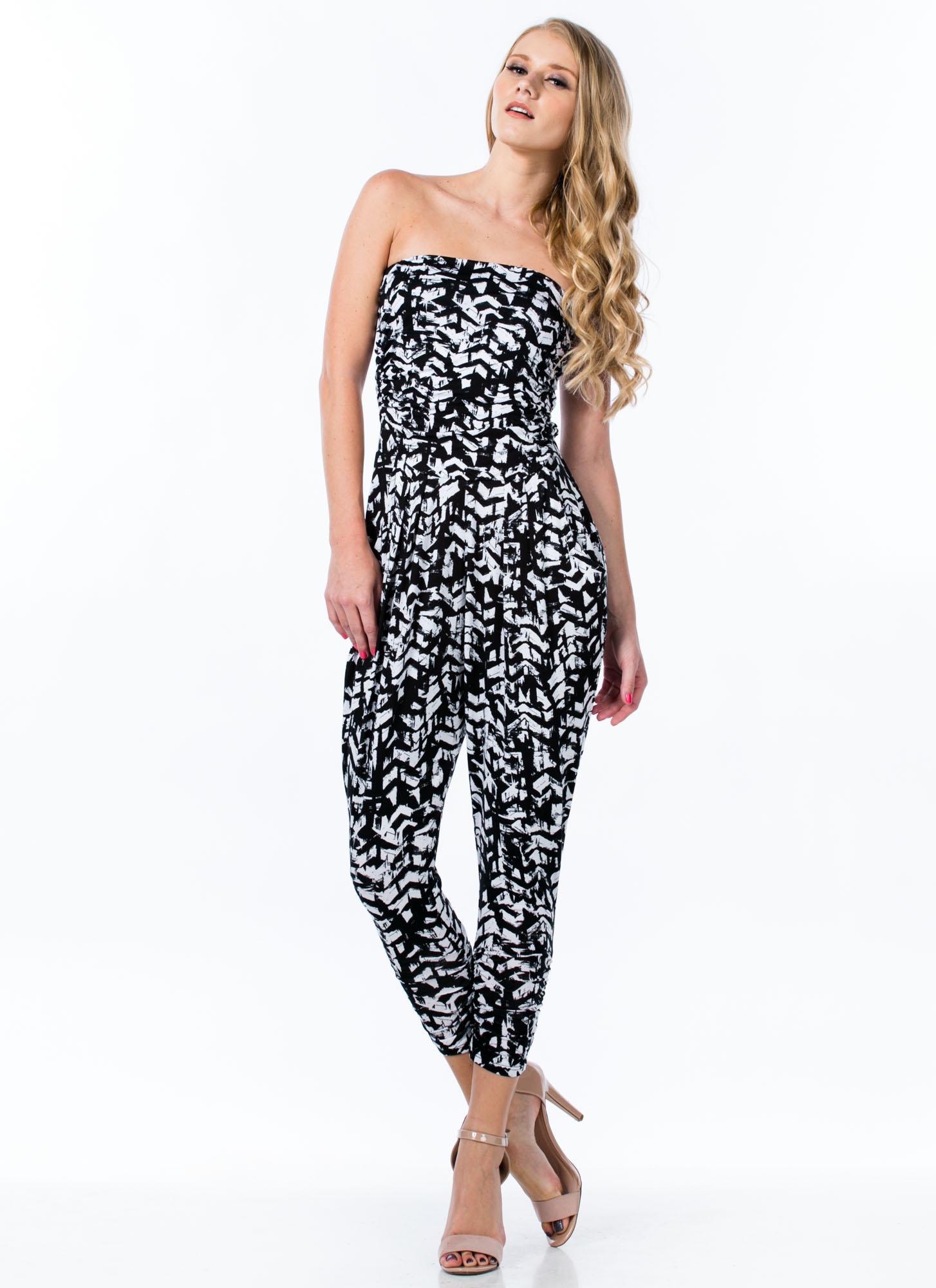 Controlled Chaos Harem Tube Jumpsuit BLACK