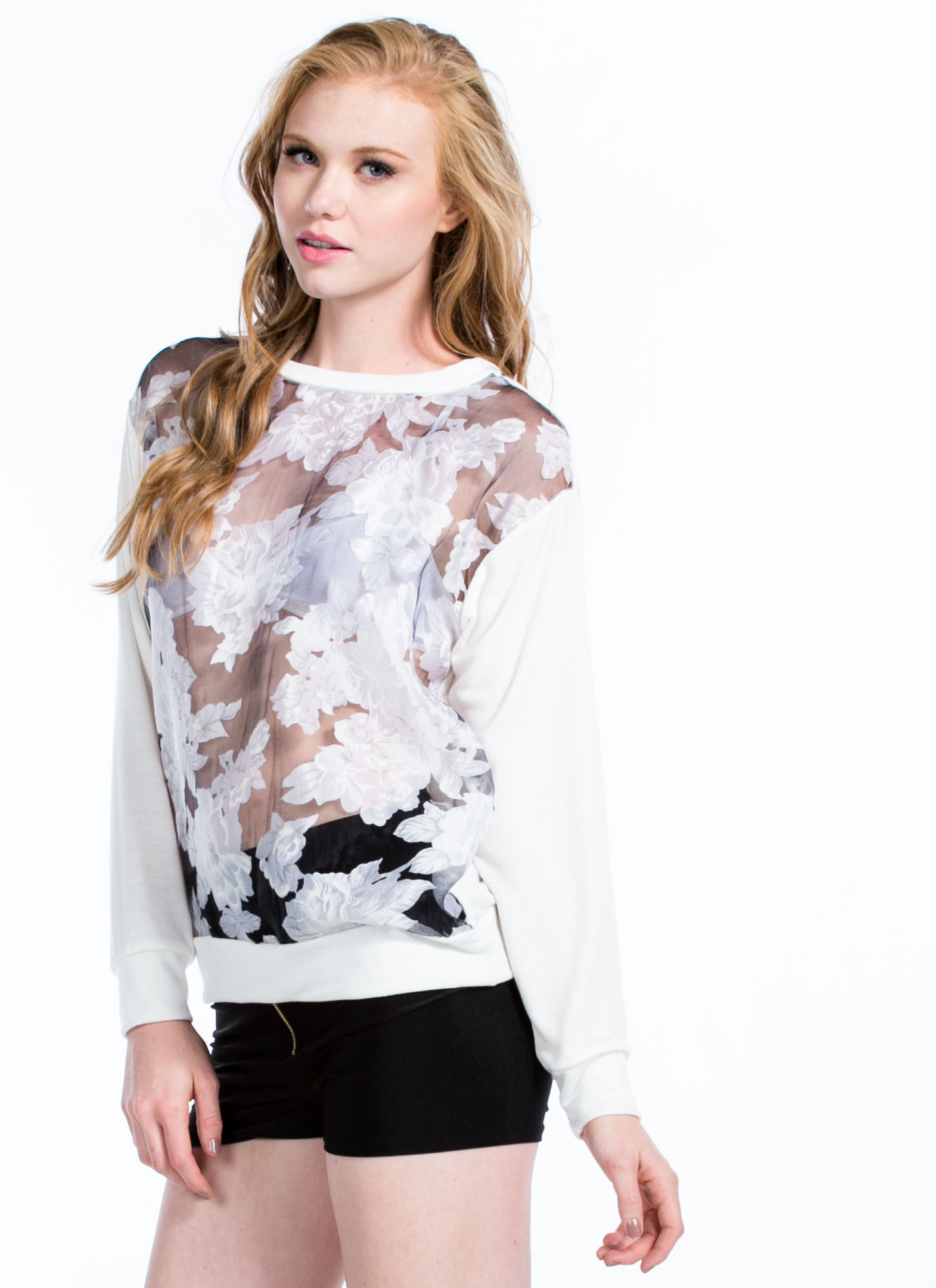 Rose Print Organza Sweatshirt WHITE